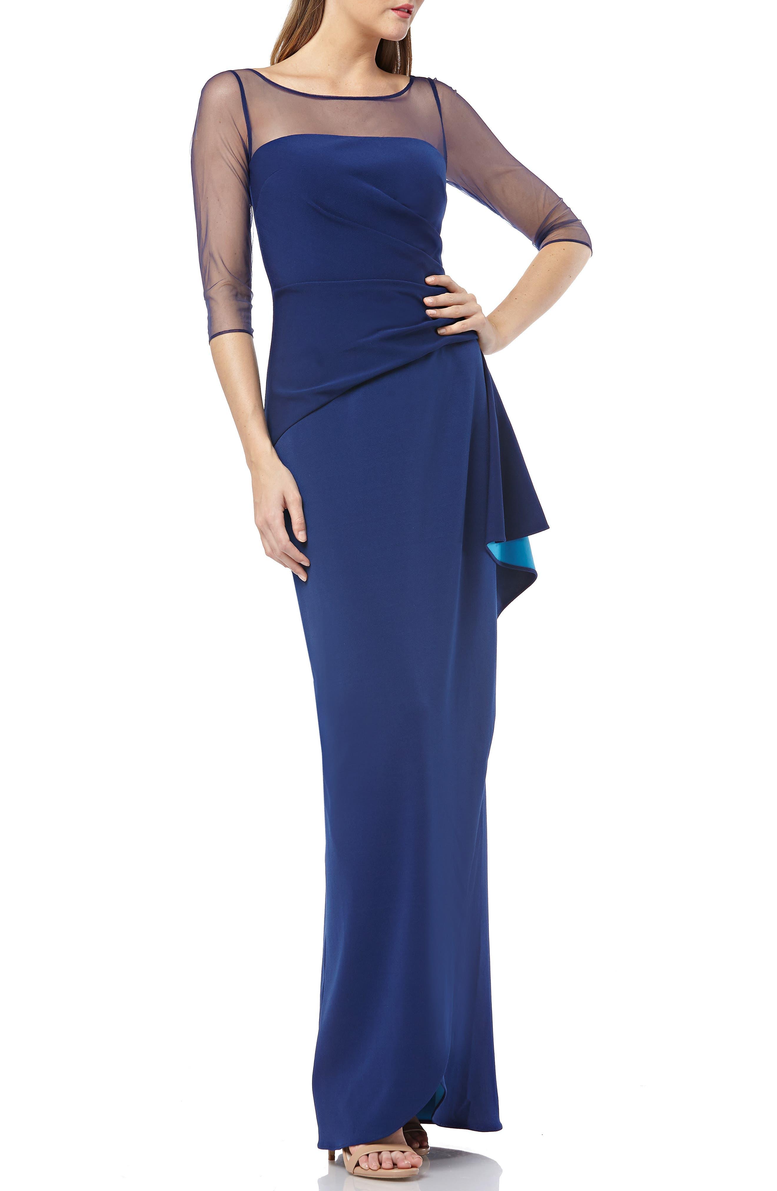 Js Collections Illusion Yoke Bonded Crepe Evening Dress, Blue