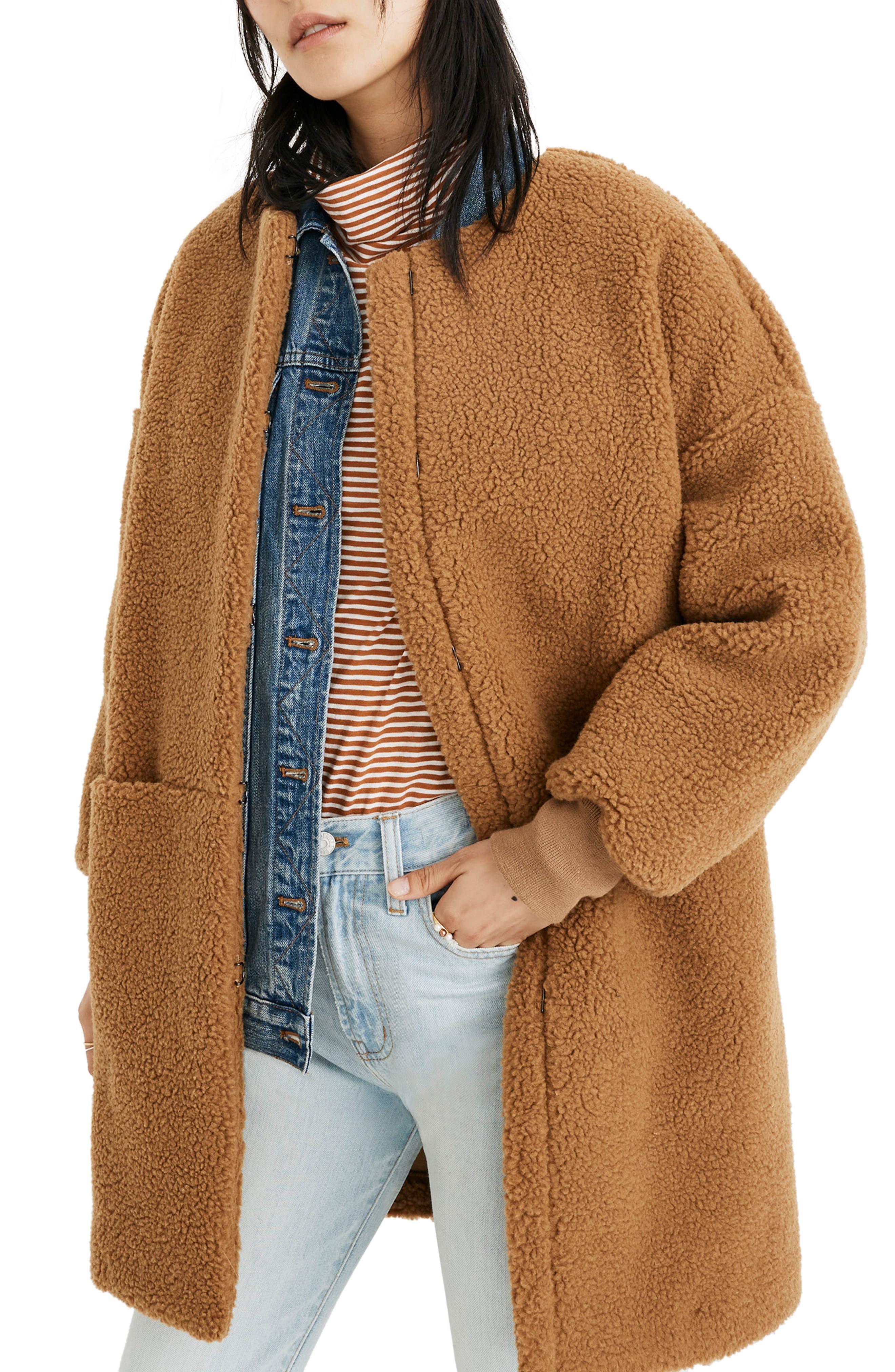 MADEWELL Bonded Fleece Cocoon Coat, Main, color, 200