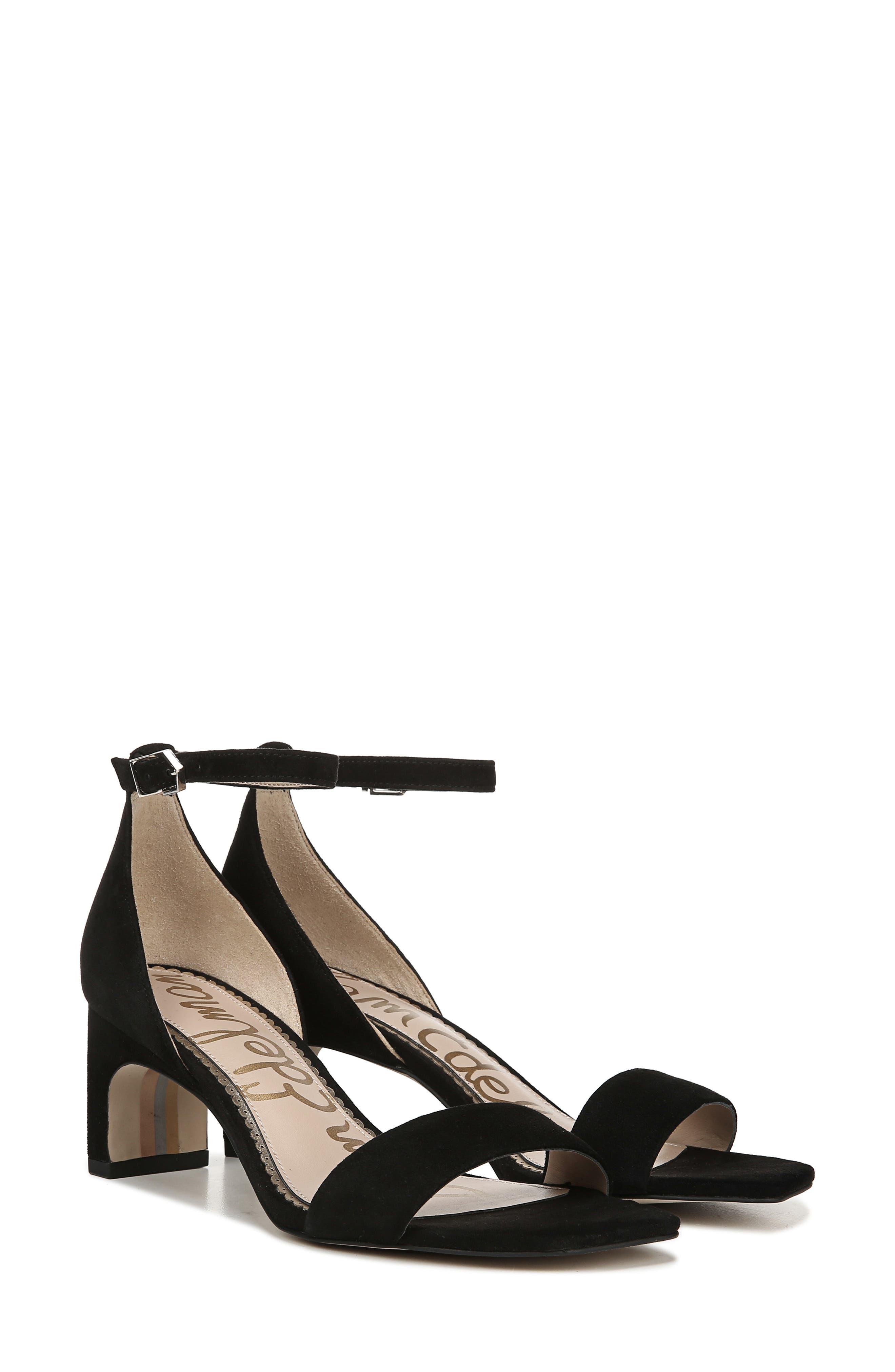 SAM EDELMAN, Holmes Ankle Strap Sandal, Alternate thumbnail 8, color, BLACK SUEDE LEATHER