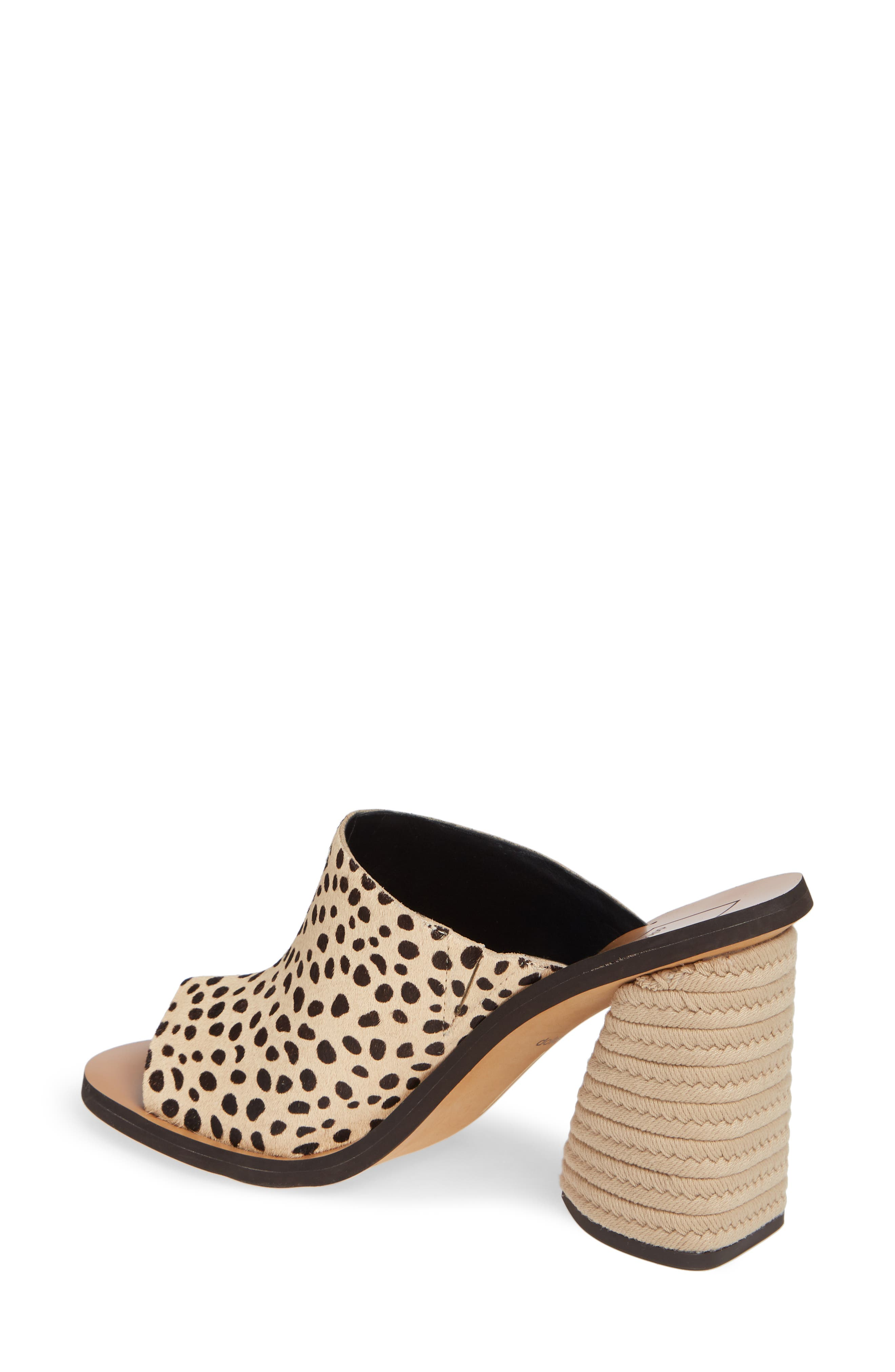 DOLCE VITA, Alba Braided Heel Mule Sandal, Alternate thumbnail 2, color, LEOPARD CALF HAIR