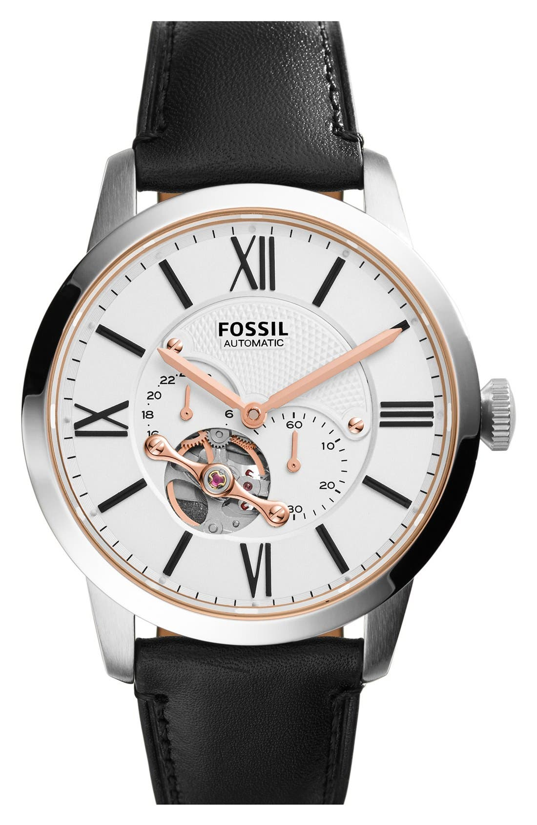 FOSSIL, 'Townsman' Automatic Leather Strap Watch, 44mm, Main thumbnail 1, color, 001