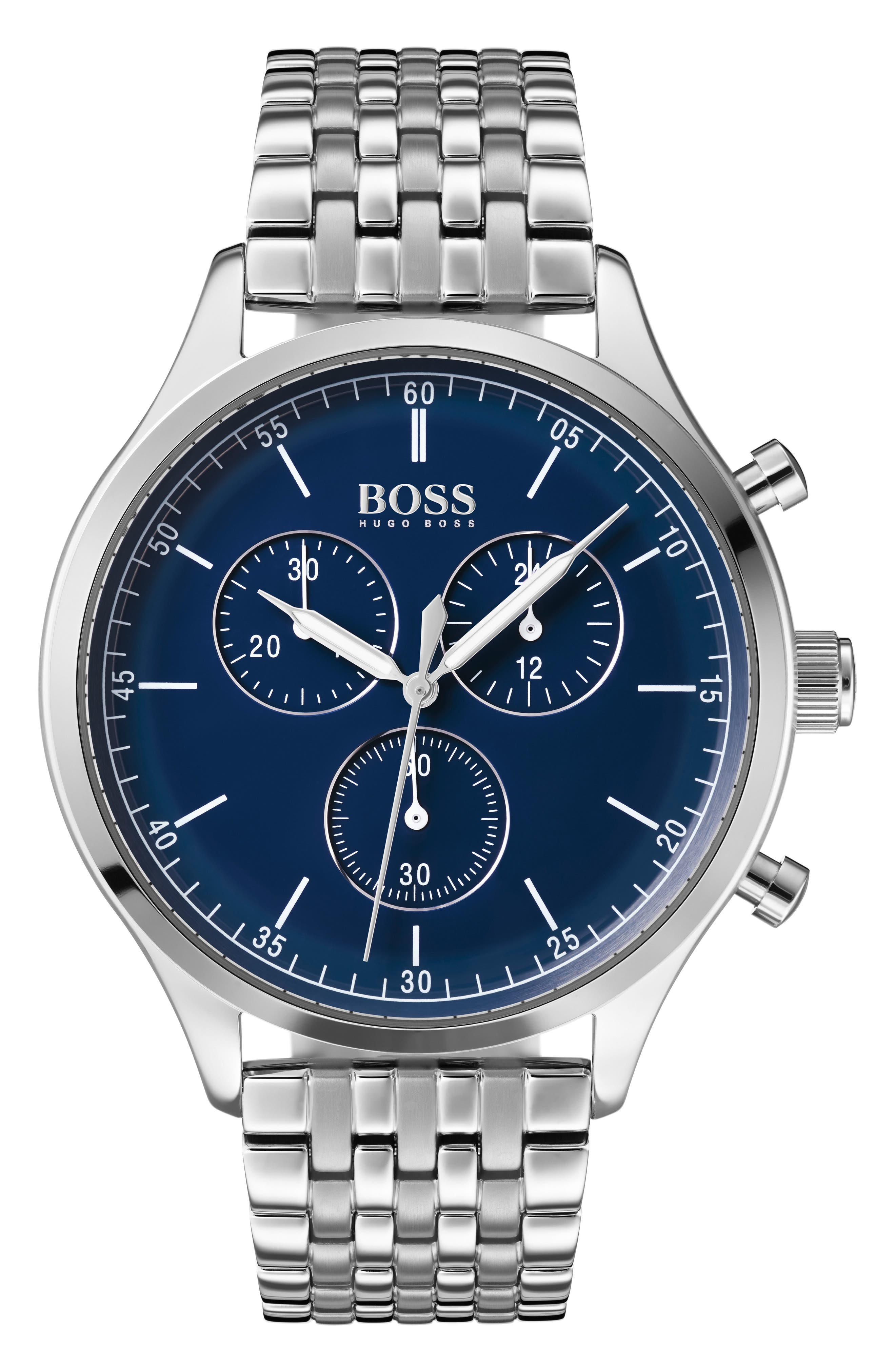 BOSS, Companion Chronograph Bracelet Watch, 42mm, Main thumbnail 1, color, SILVER/ BLUE/ SILVER