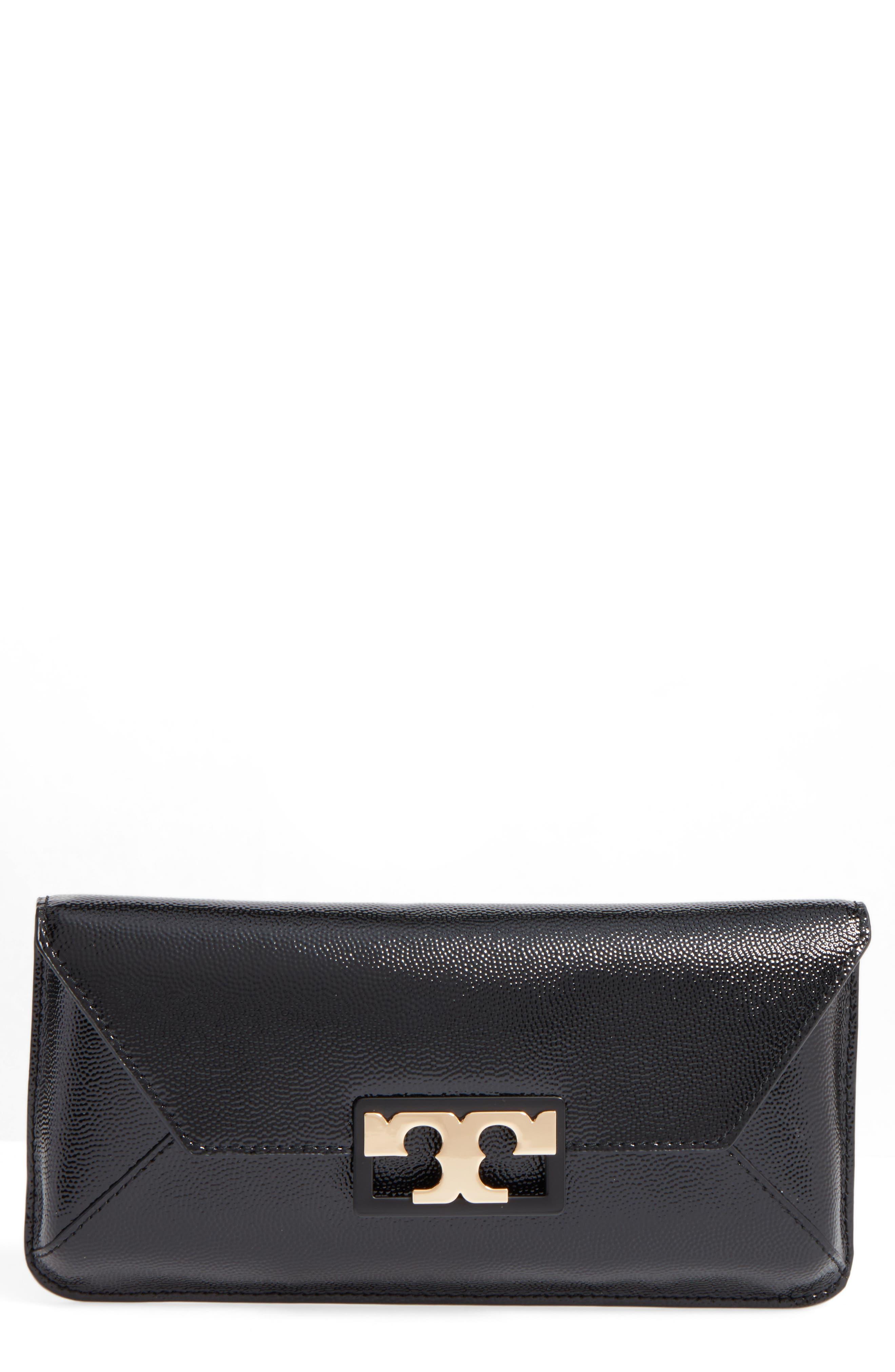 TORY BURCH Gigi Caviar Leather Clutch, Main, color, 001