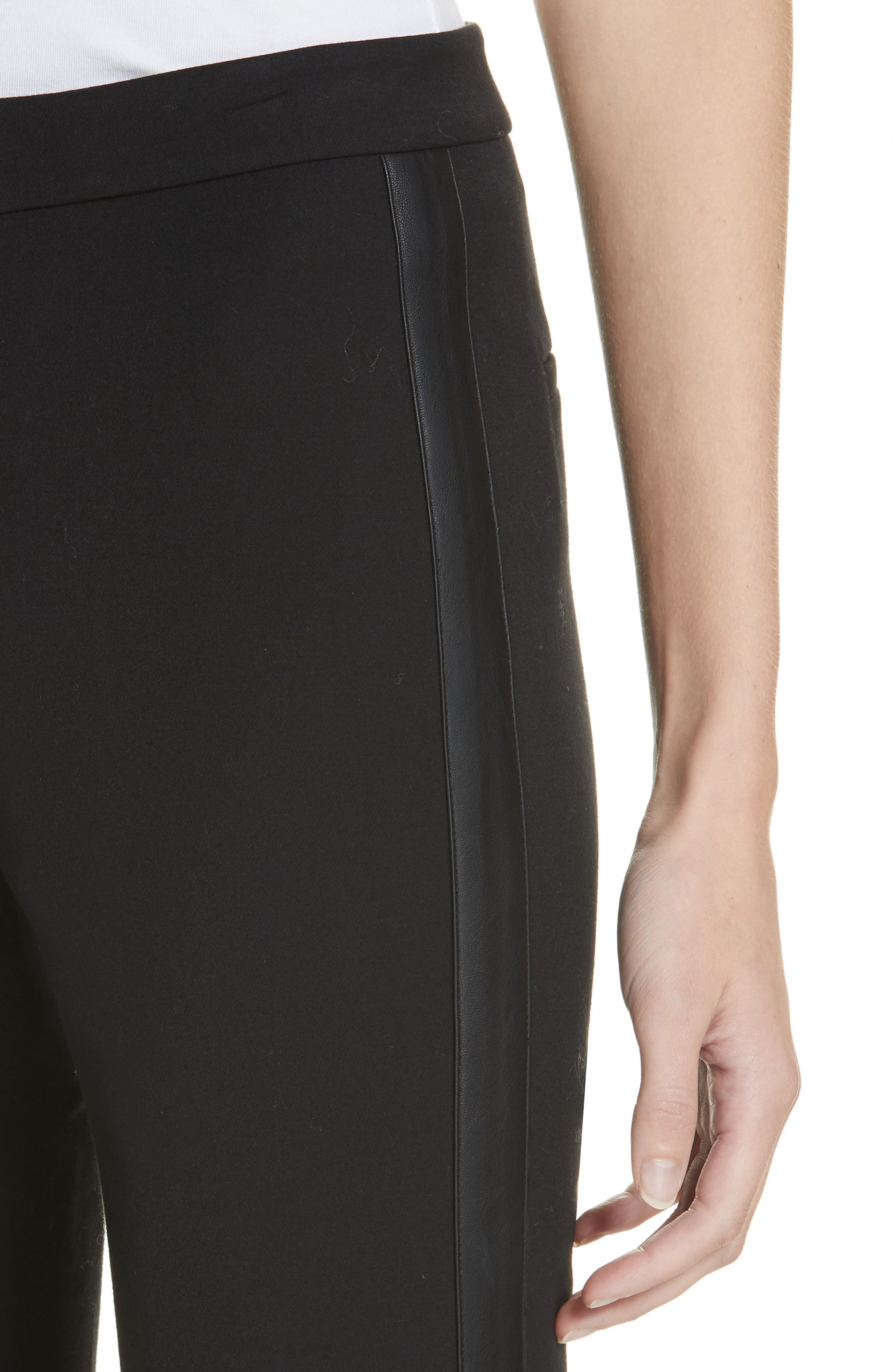 VINCE, Faux Leather Side Stripe Trousers, Alternate thumbnail 4, color, BLACK