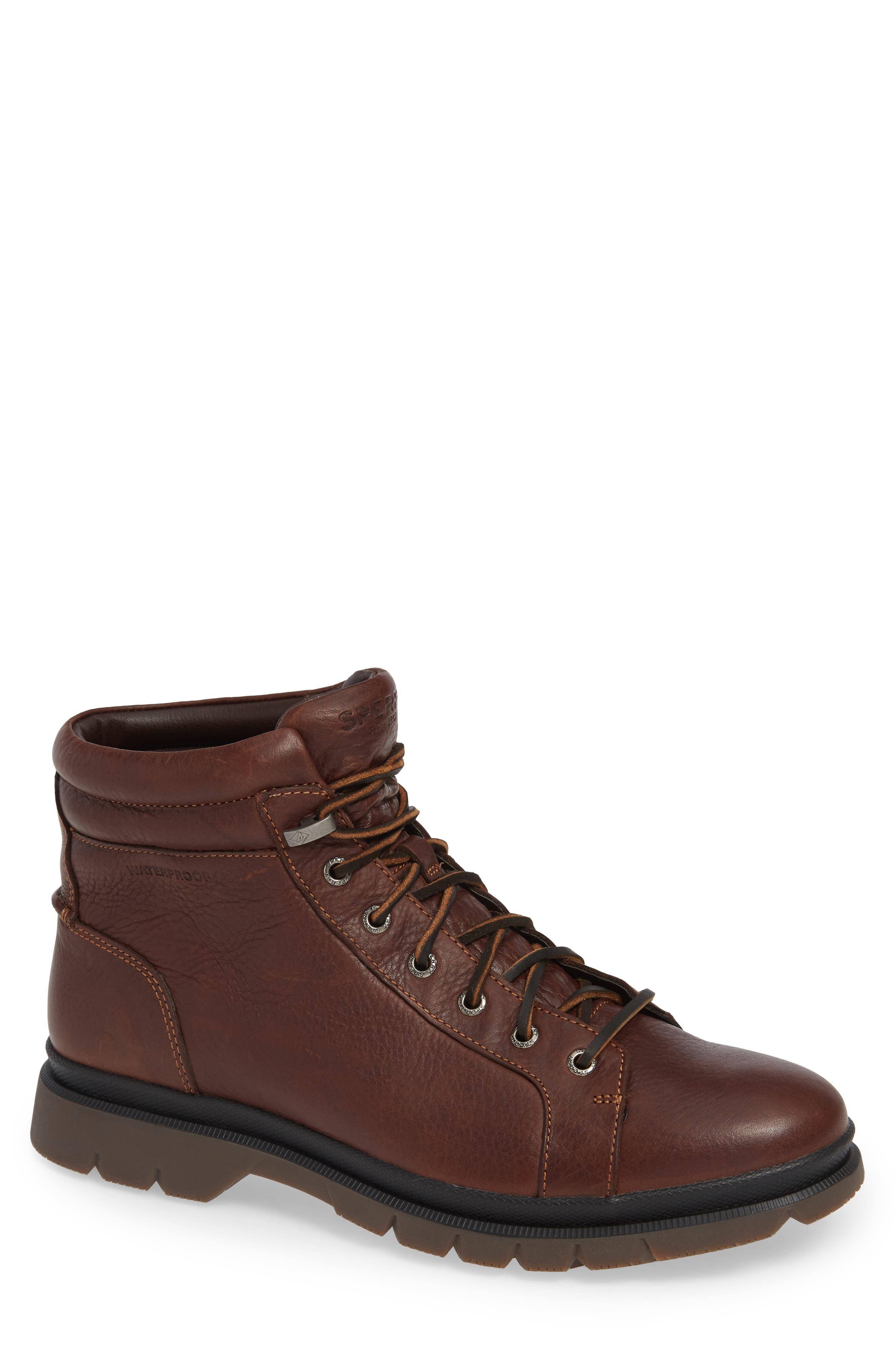 SPERRY Watertown Waterproof Plain Toe Boot, Main, color, DARK BROWN
