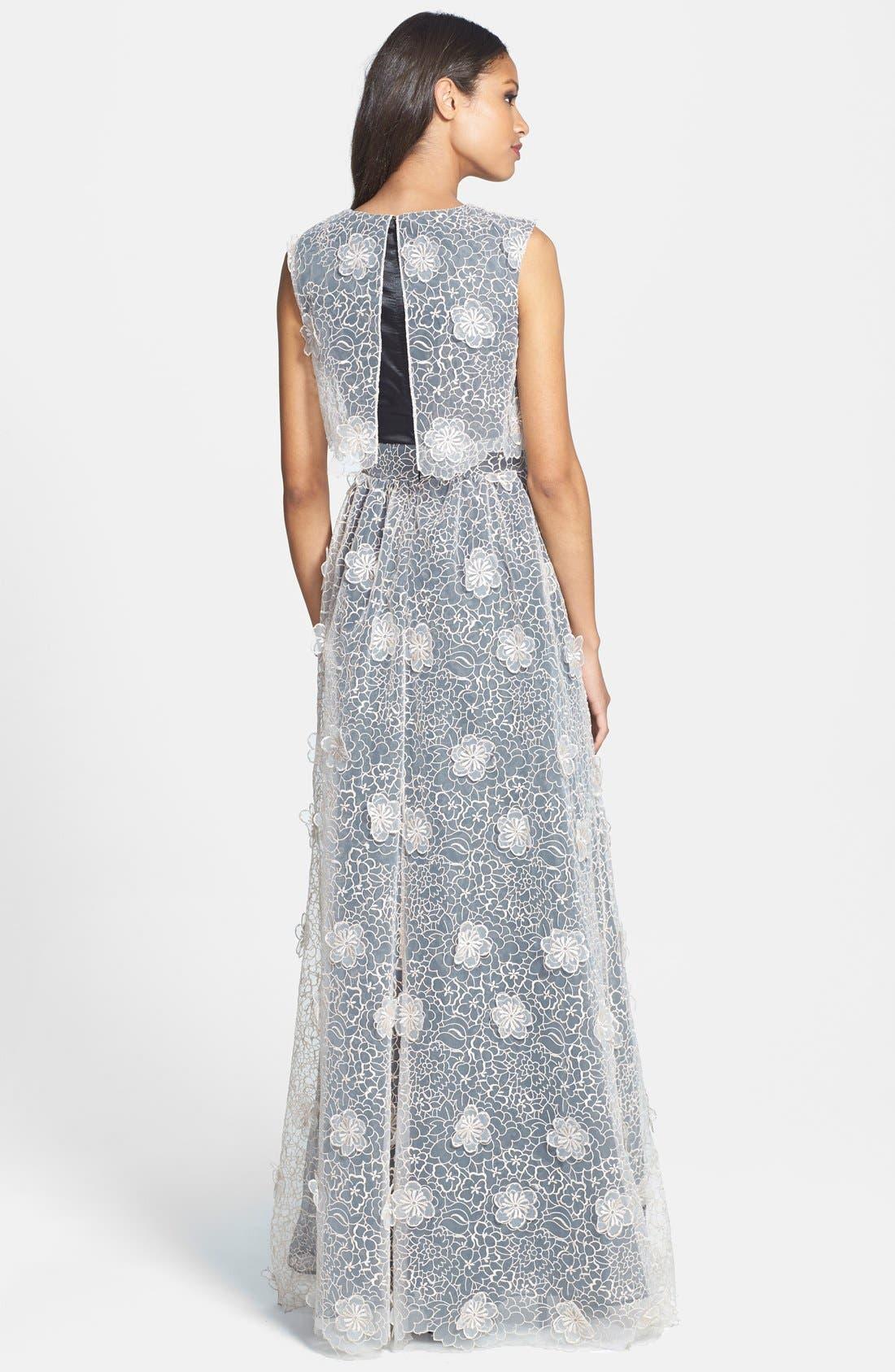ERIN ERIN FETHERSTON, 'Jan' 3D Floral Organza Gown, Alternate thumbnail 3, color, 687