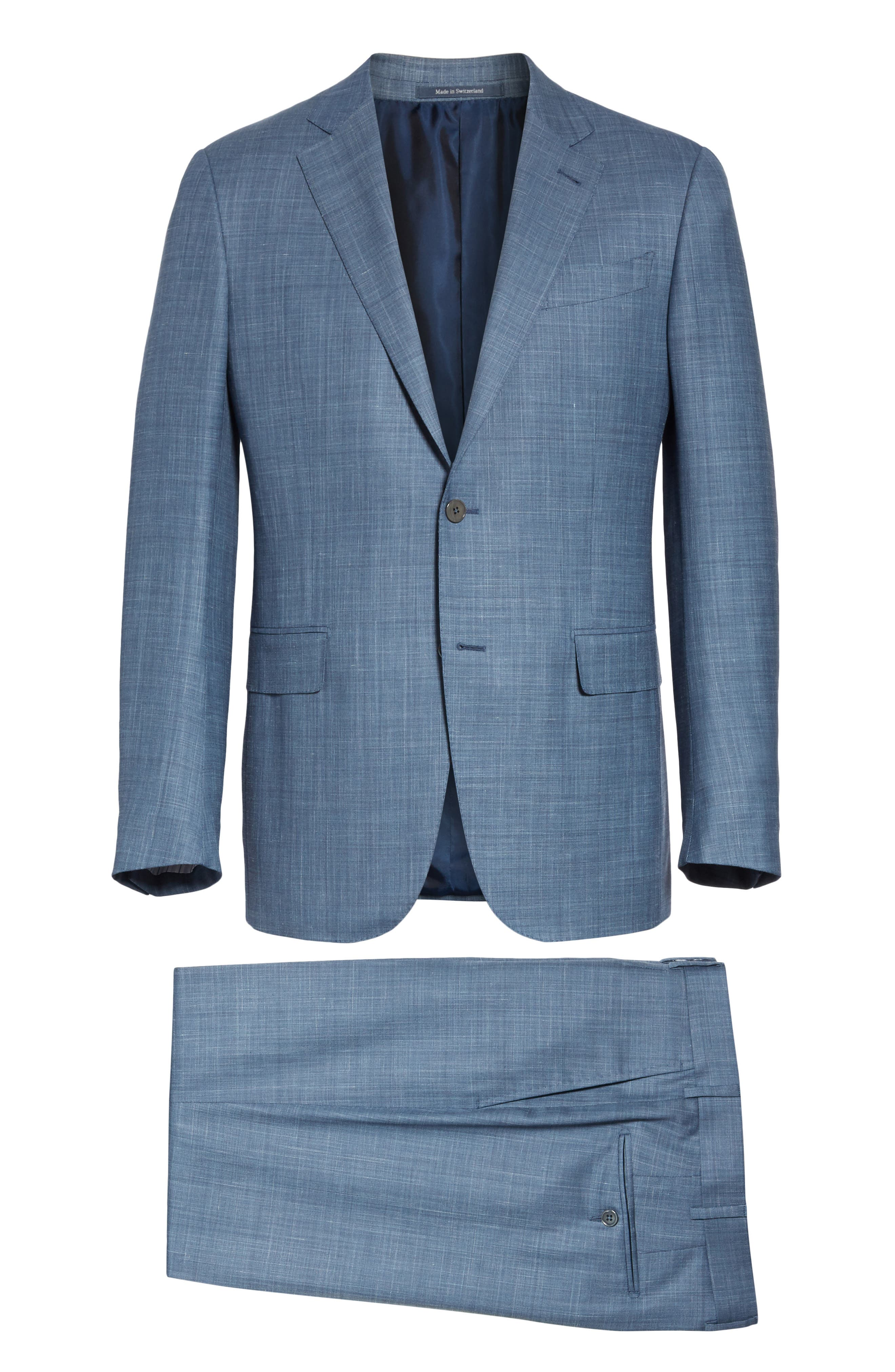 ERMENEGILDO ZEGNA, Trofeo Classic Fit Solid Wool Blend Suit, Alternate thumbnail 8, color, BLUE