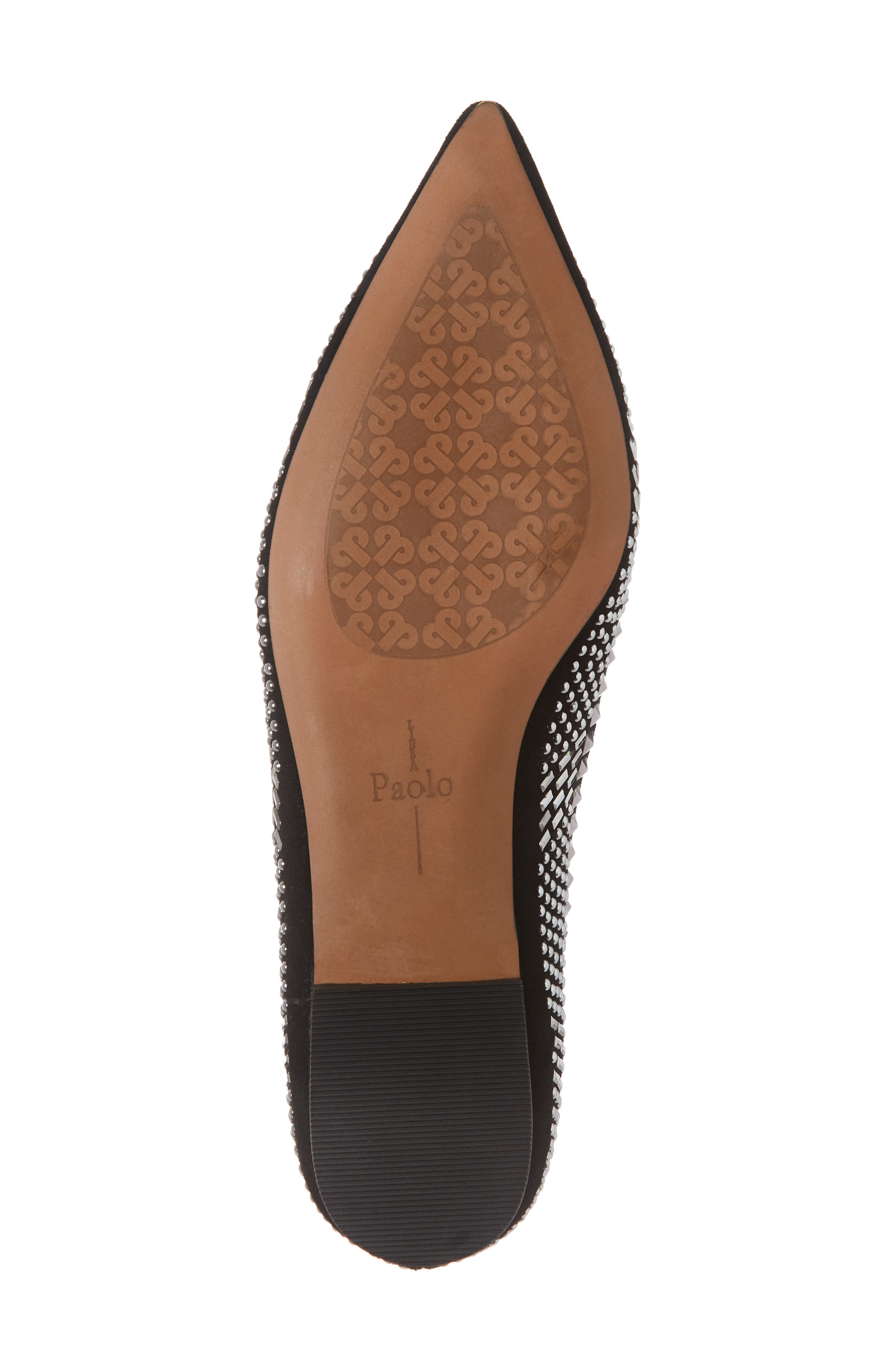 LINEA PAOLO, Portia Studded Loafer, Alternate thumbnail 6, color, BLACK SUEDE