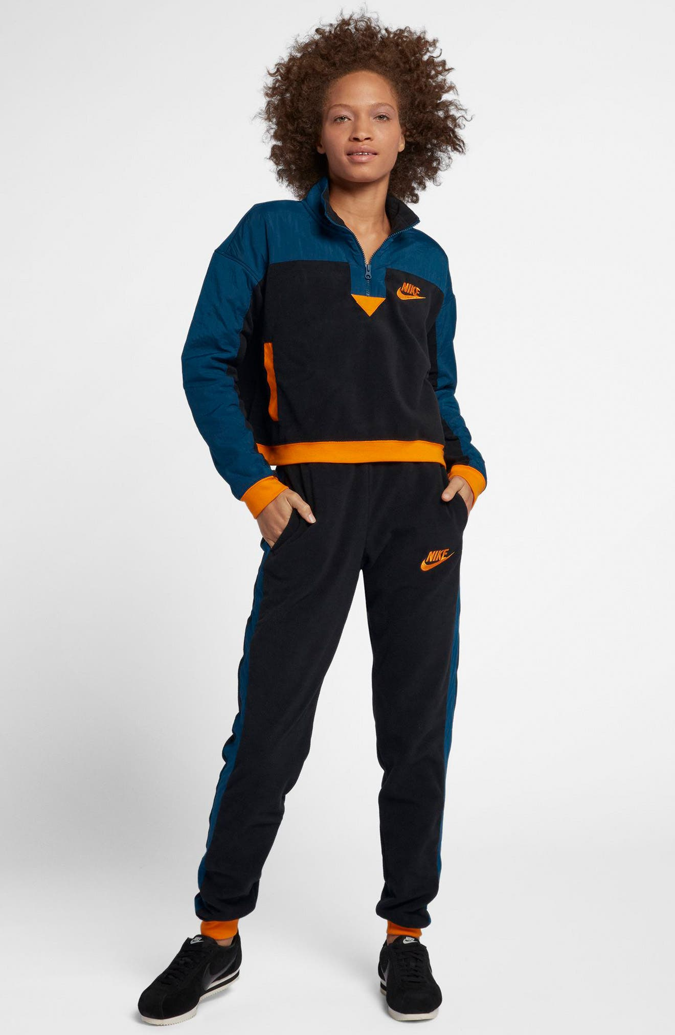 NIKE, Sportswear Women's Half Zip Top, Alternate thumbnail 8, color, 010