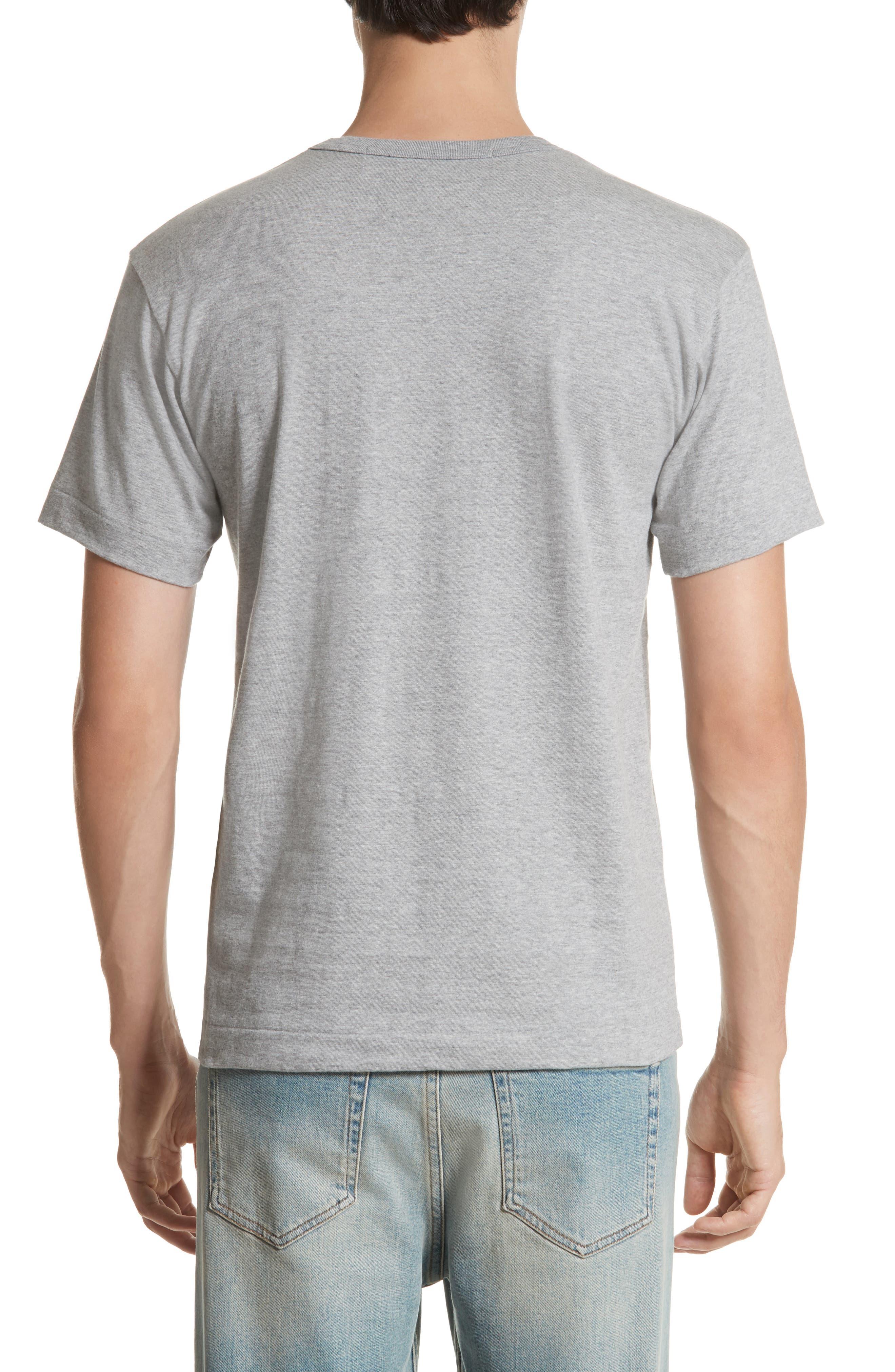 COMME DES GARÇONS PLAY, Logo Graphic Crewneck T-Shirt, Alternate thumbnail 2, color, TOP DYED GRAY