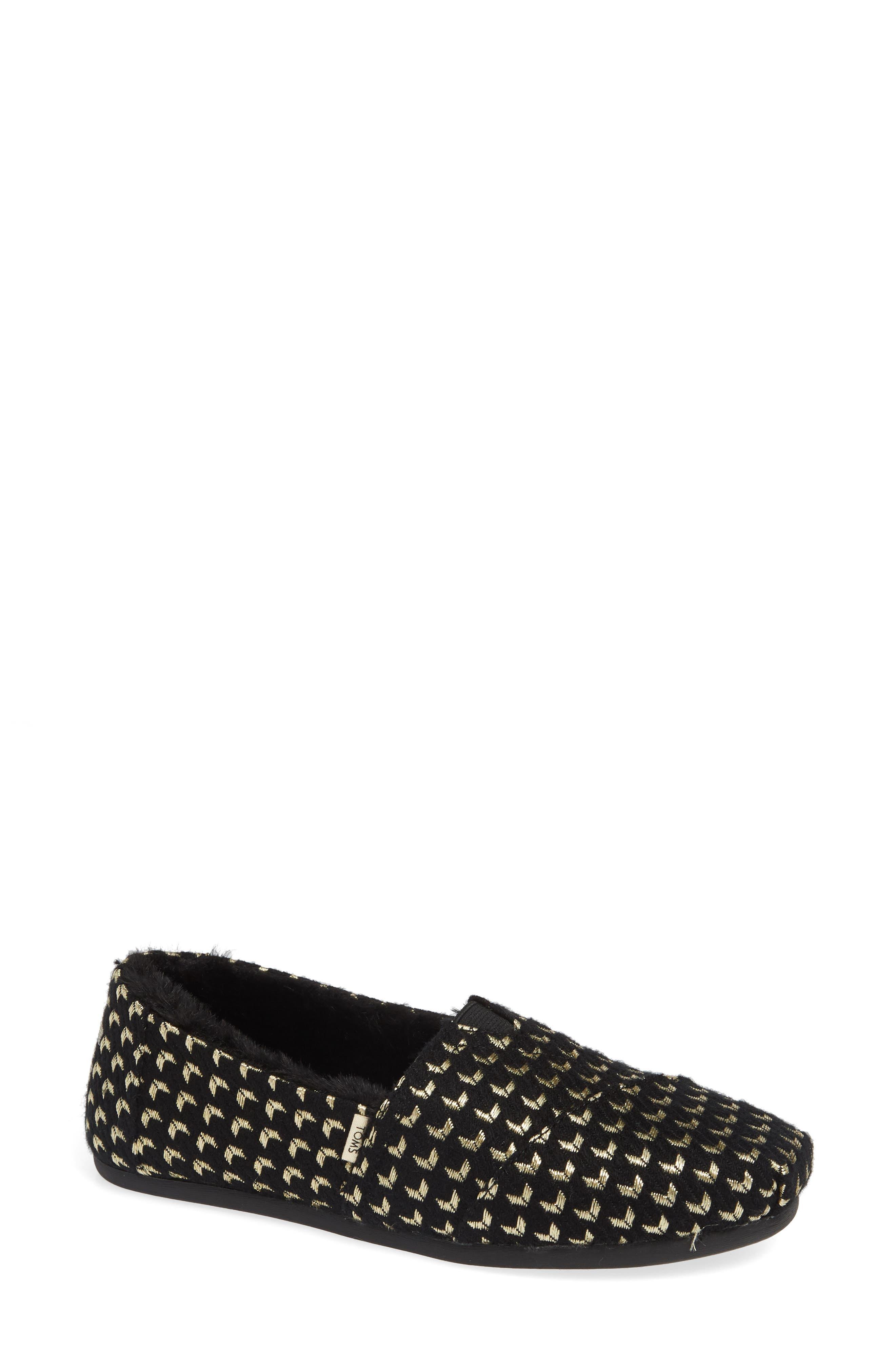 TOMS Alpargata Slip-On, Main, color, BLACK GEO PRINT FABRIC