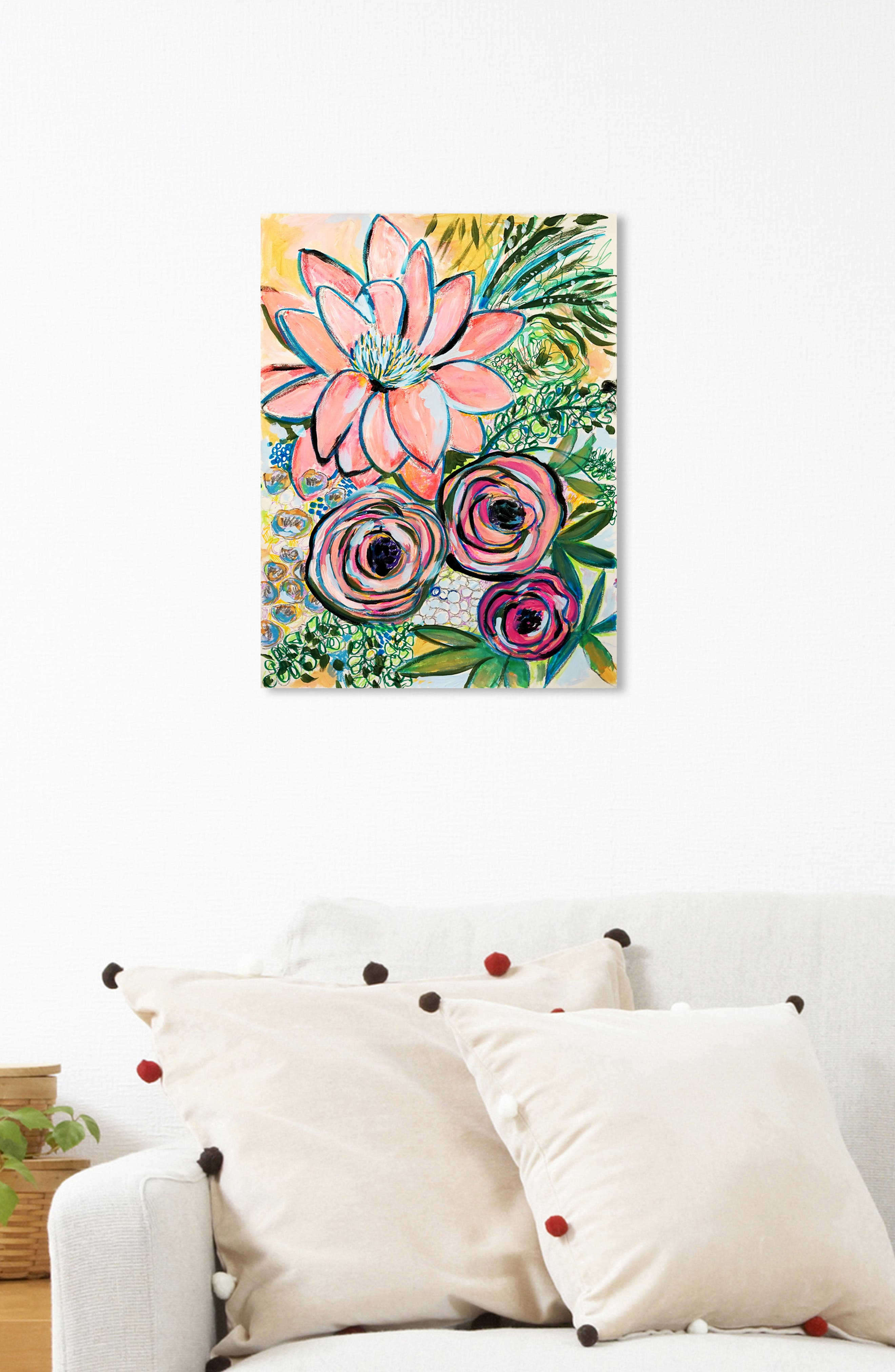 OLIVER GAL, Peonies Party of 2 Canvas Wall Art, Alternate thumbnail 6, color, GREEN PINK