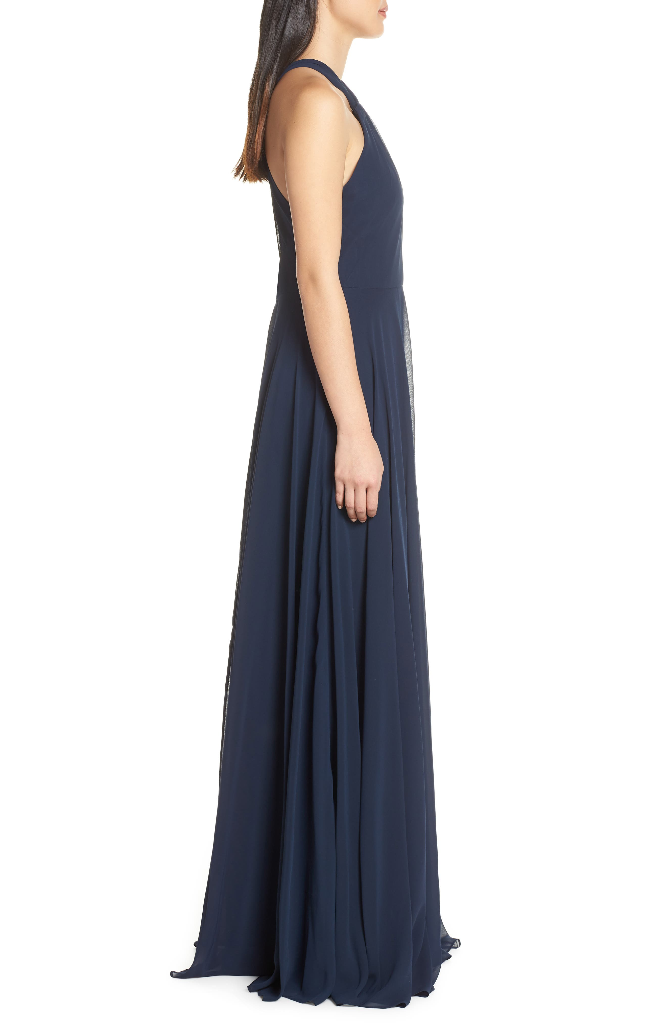 JENNY YOO, Halle Halter Evening Dress, Alternate thumbnail 4, color, NAVY