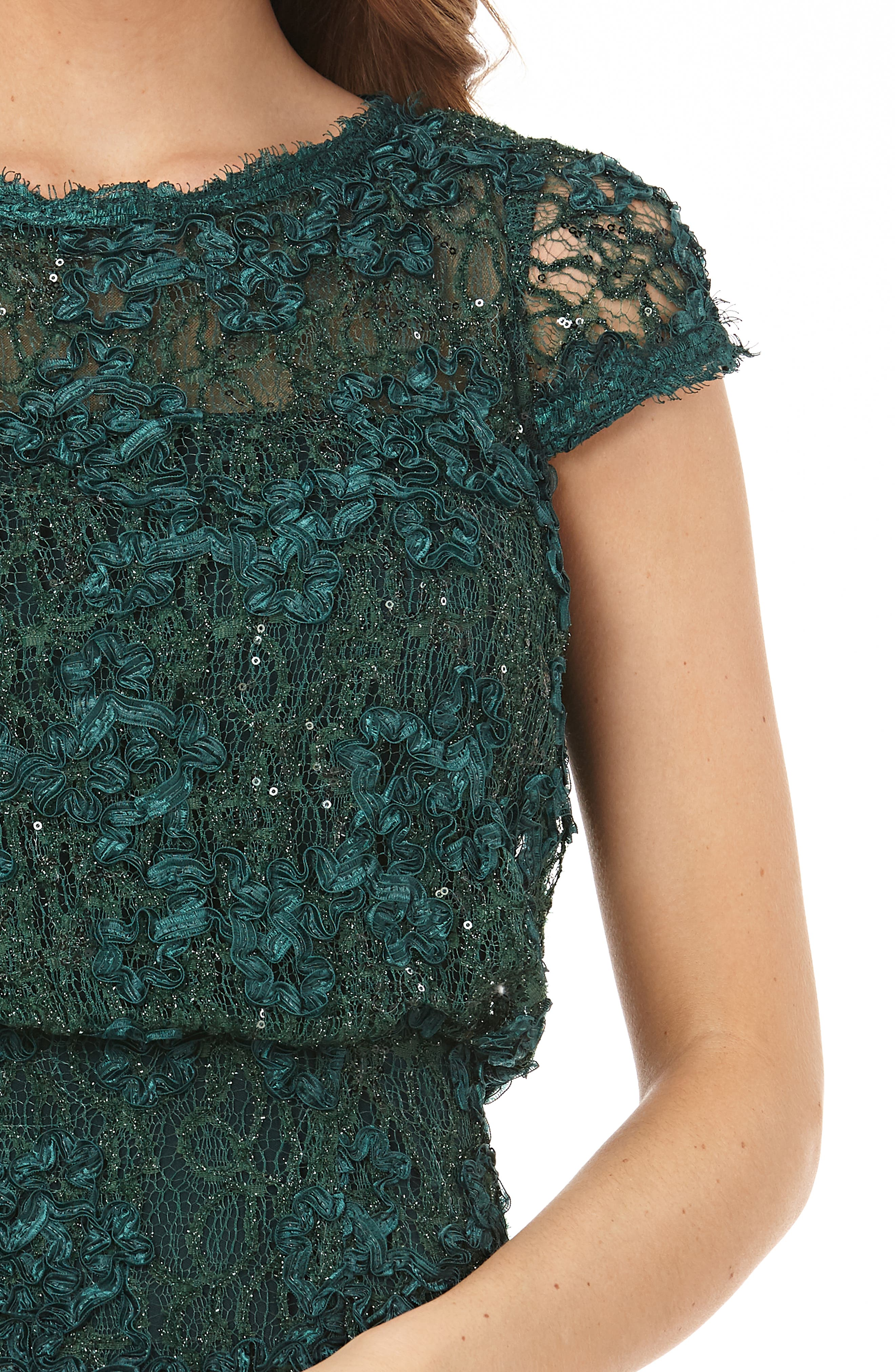 JS COLLECTIONS, Sequin Lace Blouson Gown, Alternate thumbnail 4, color, GREEN