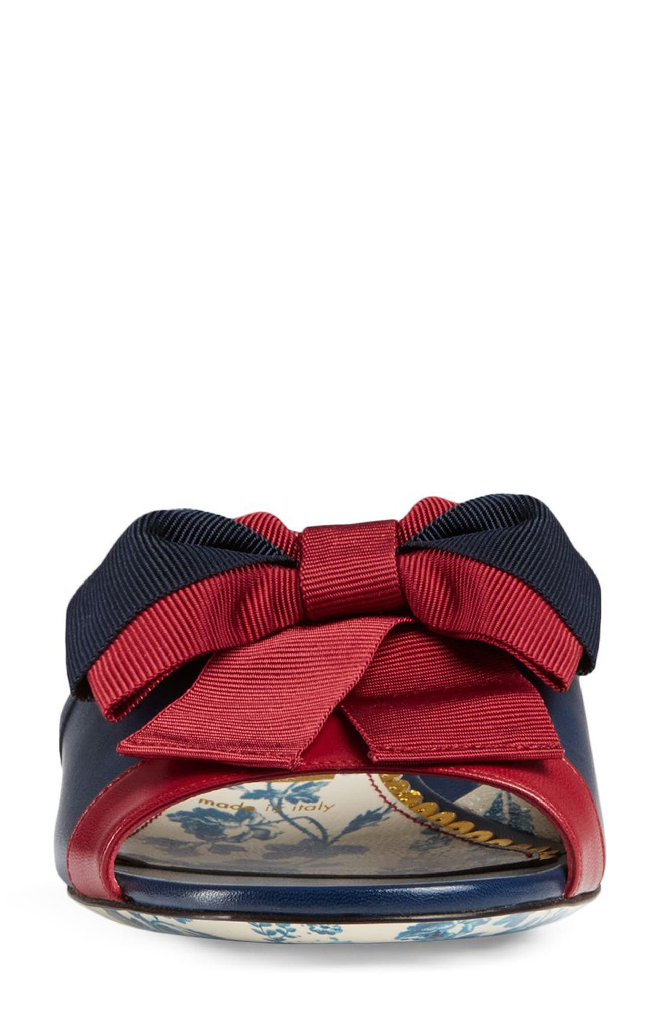 GUCCI, Sackville Bow Sandal, Alternate thumbnail 4, color, BLUE/ RED