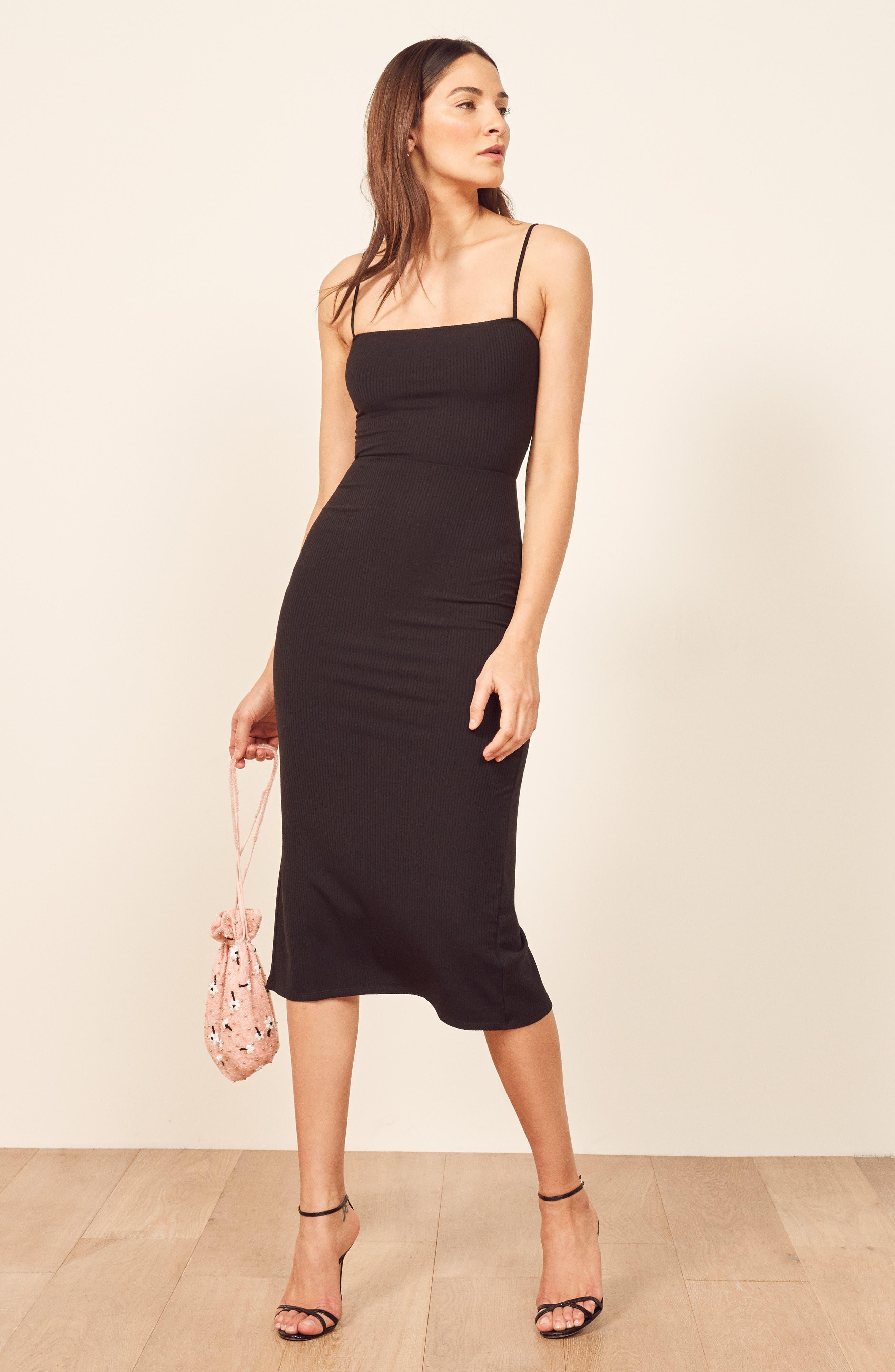 REFORMATION, Haley Midi Dress, Alternate thumbnail 6, color, BLACK