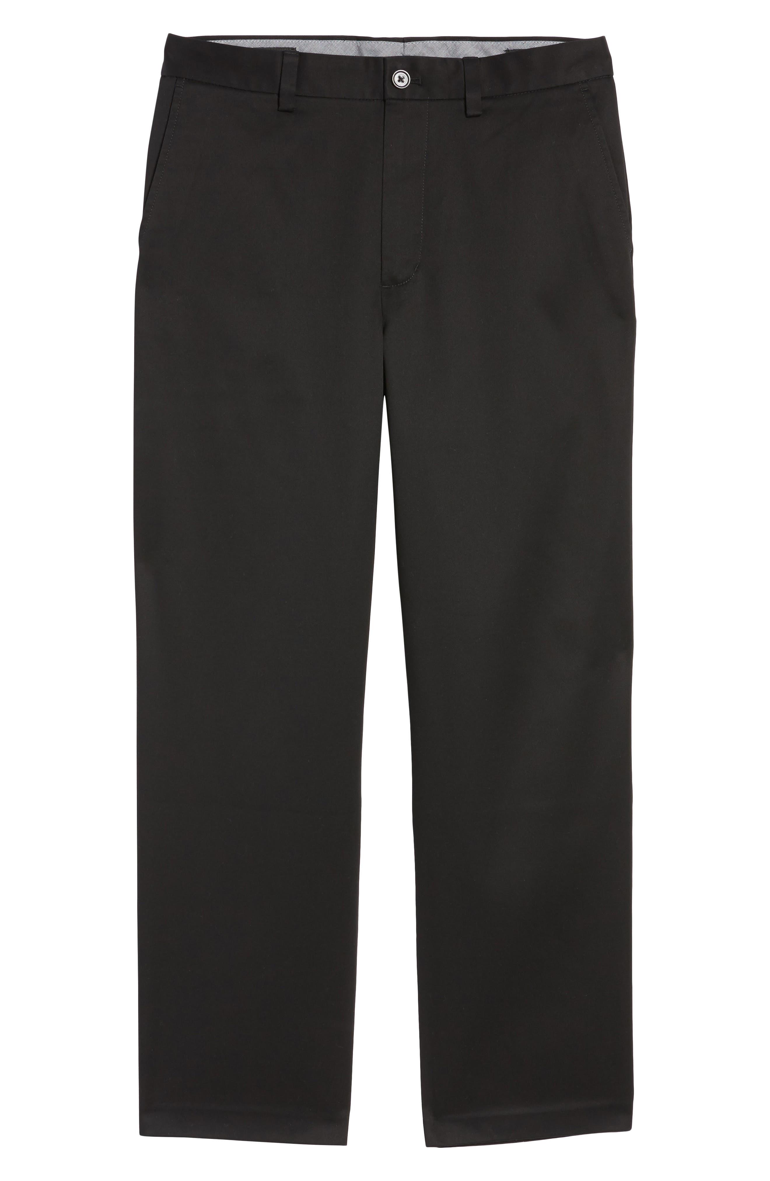 NORDSTROM MEN'S SHOP, 'Classic' Smartcare<sup>™</sup> Relaxed Fit Flat Front Cotton Pants, Main thumbnail 1, color, BLACK