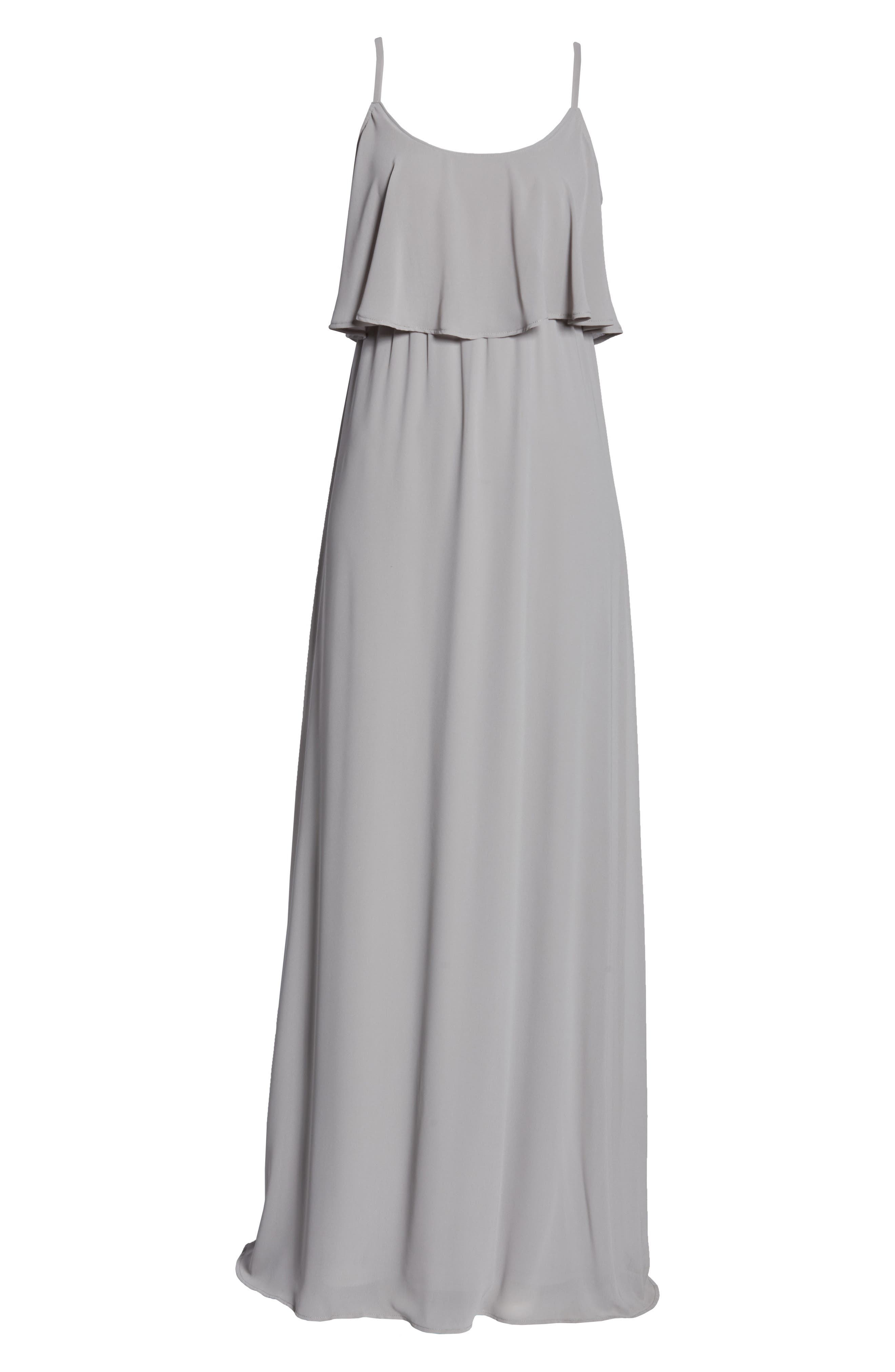 SHOW ME YOUR MUMU, Caitlin Cold Shoulder Chiffon Gown, Alternate thumbnail 5, color, DOVE GREY