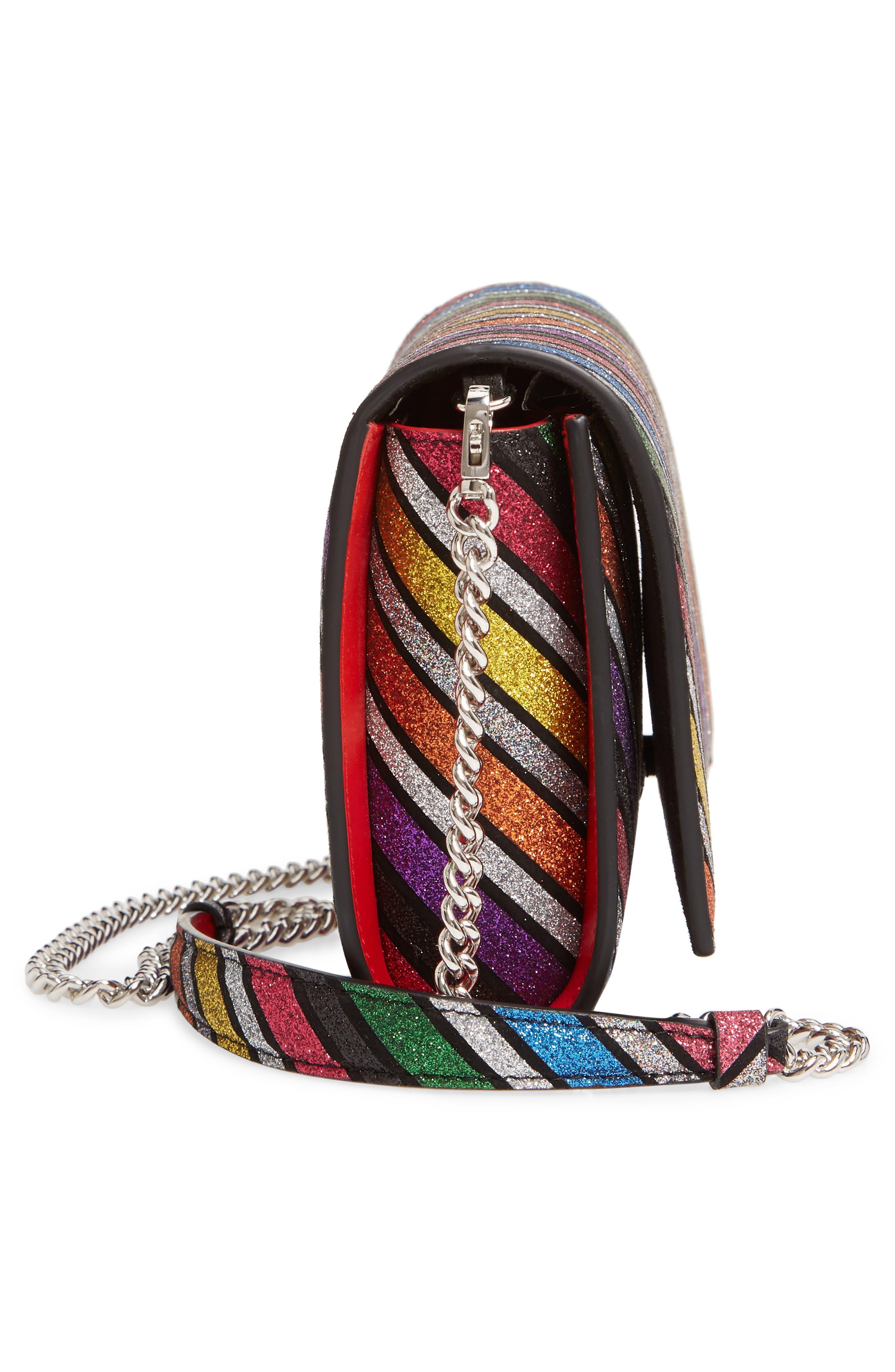 CHRISTIAN LOUBOUTIN, Paloma Glitter Rainbow Suede Clutch, Alternate thumbnail 5, color, 040