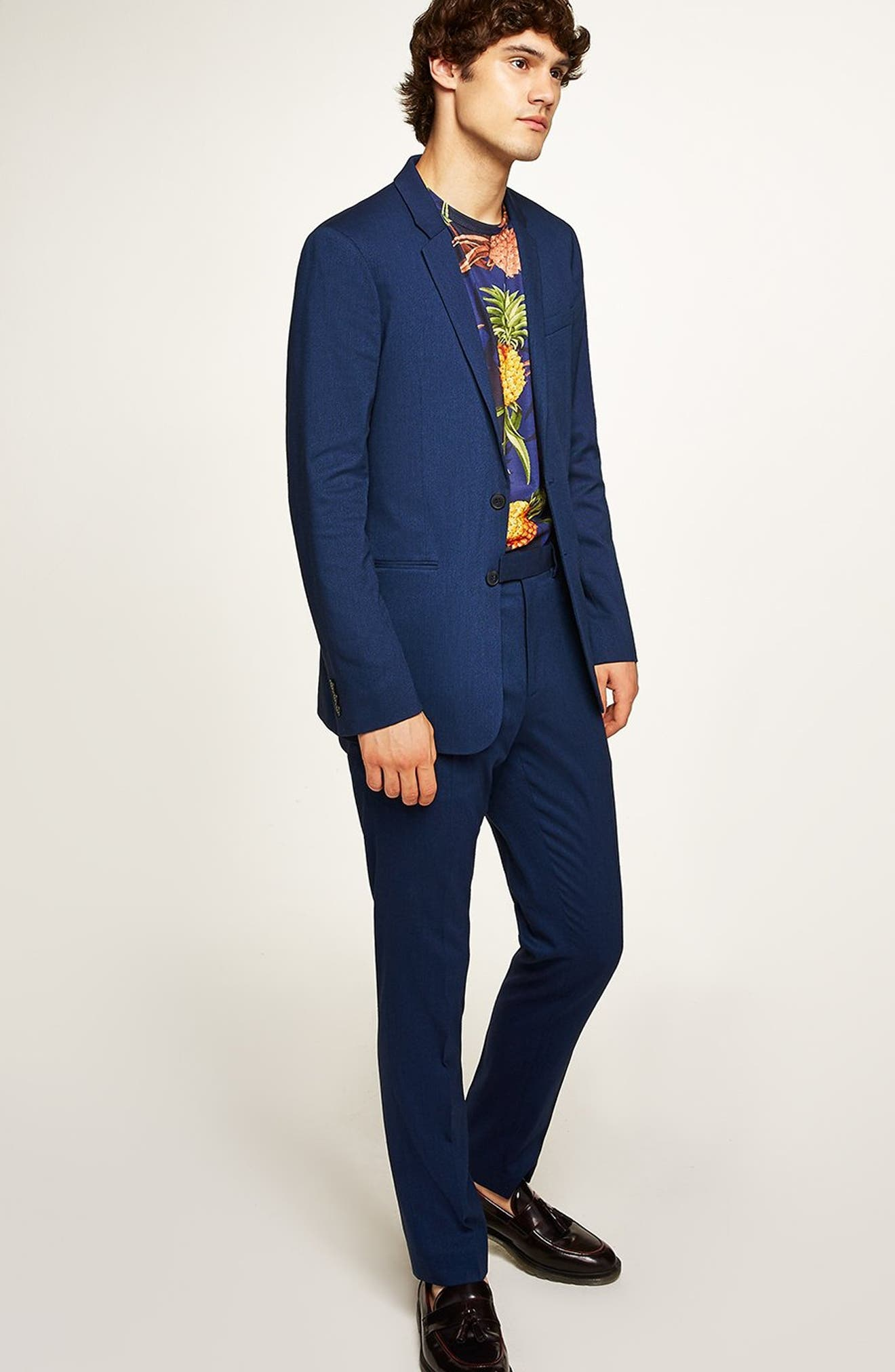 TOPMAN, Skinny Fit Suit Pants, Alternate thumbnail 8, color, MID BLUE