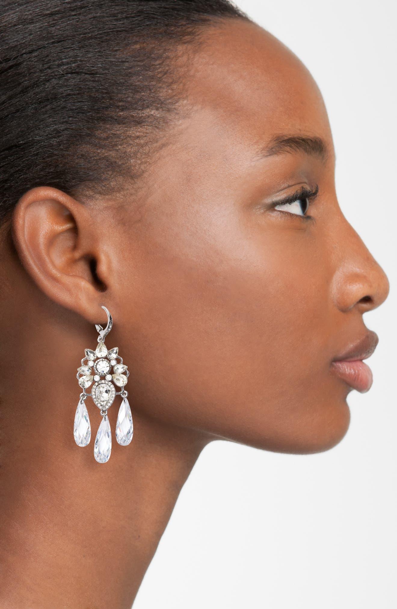 JENNY PACKHAM, Chandelier Earrings, Alternate thumbnail 2, color, SILVER