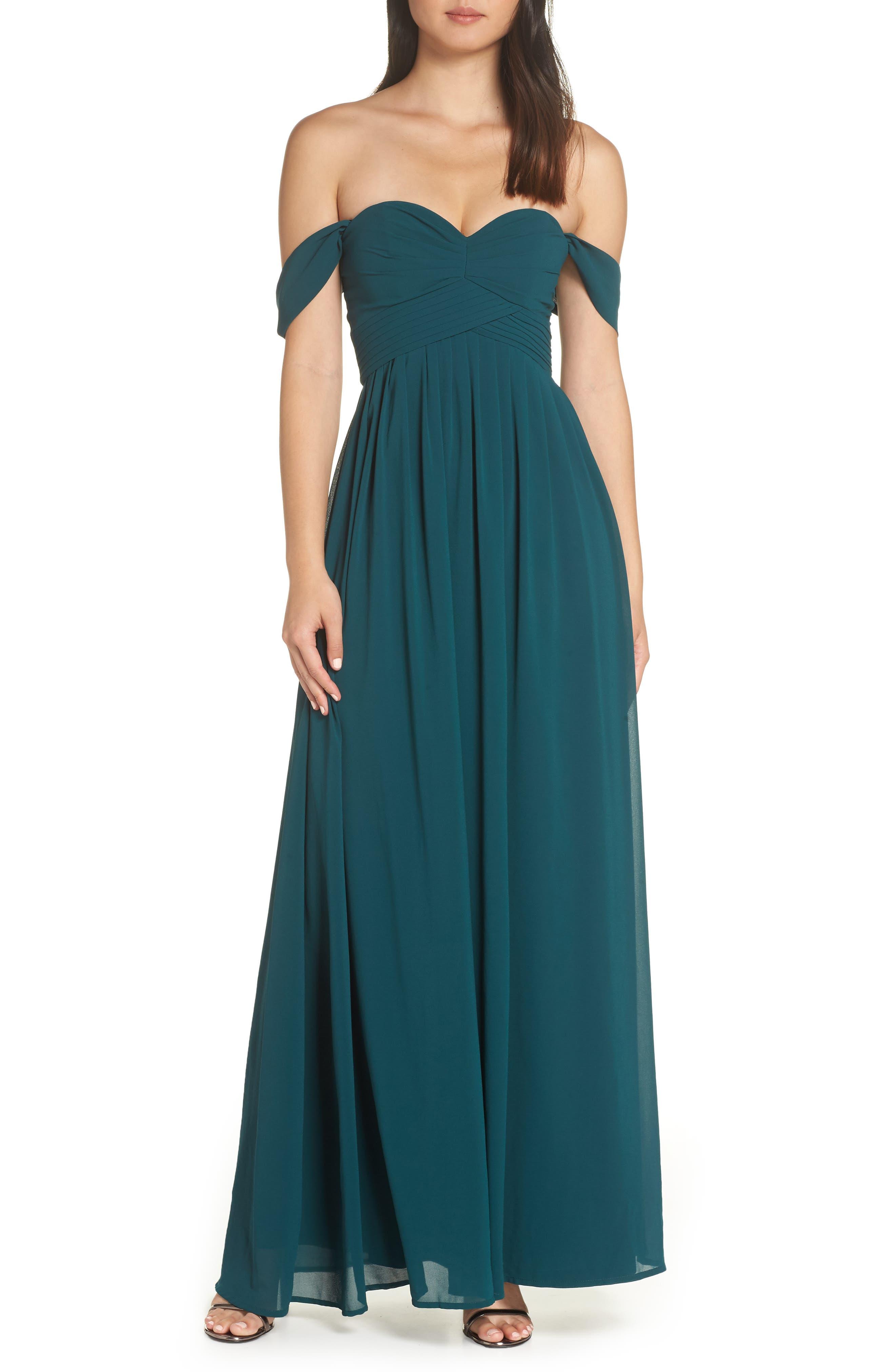 LULUS Convertible Neckline Chiffon Gown, Main, color, DEEP EMERALD