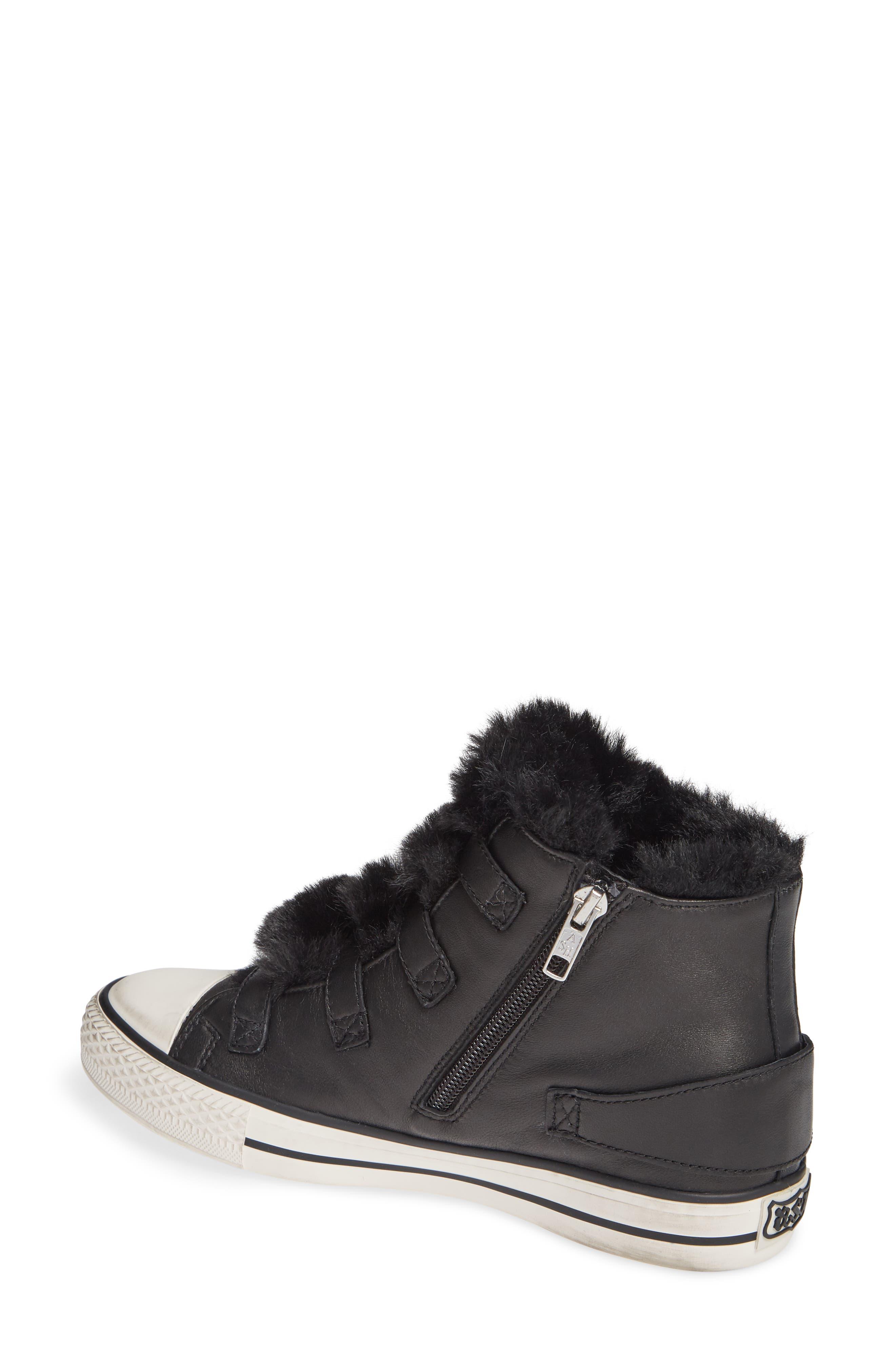 ASH, Valko High Top Sneaker, Alternate thumbnail 2, color, BLACK/ BLACK FAUX FUR