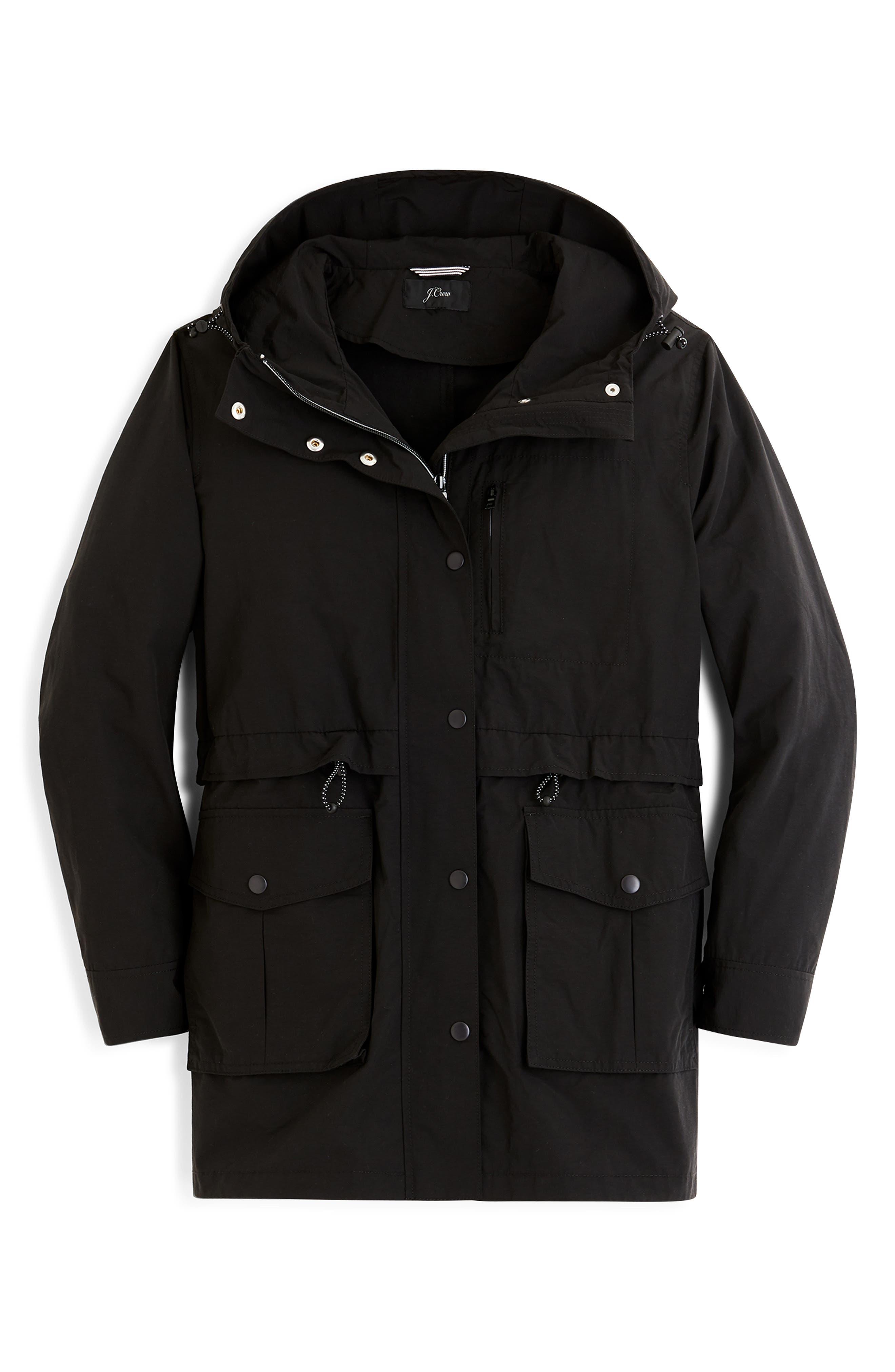 J.CREW, Perfect Raincoat, Alternate thumbnail 4, color, BLACK