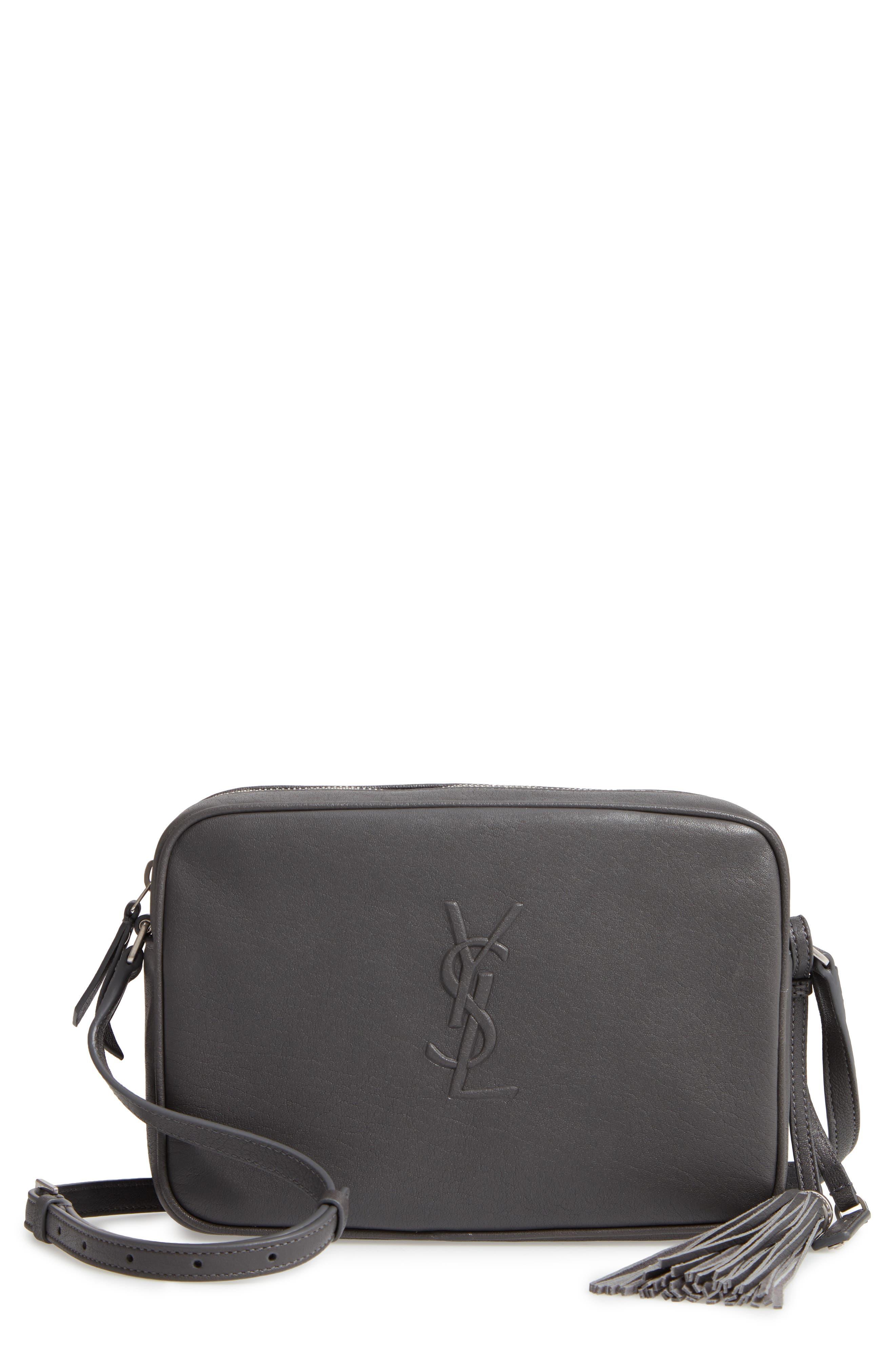 SAINT LAURENT, Small Mono Leather Camera Bag, Main thumbnail 1, color, STORM
