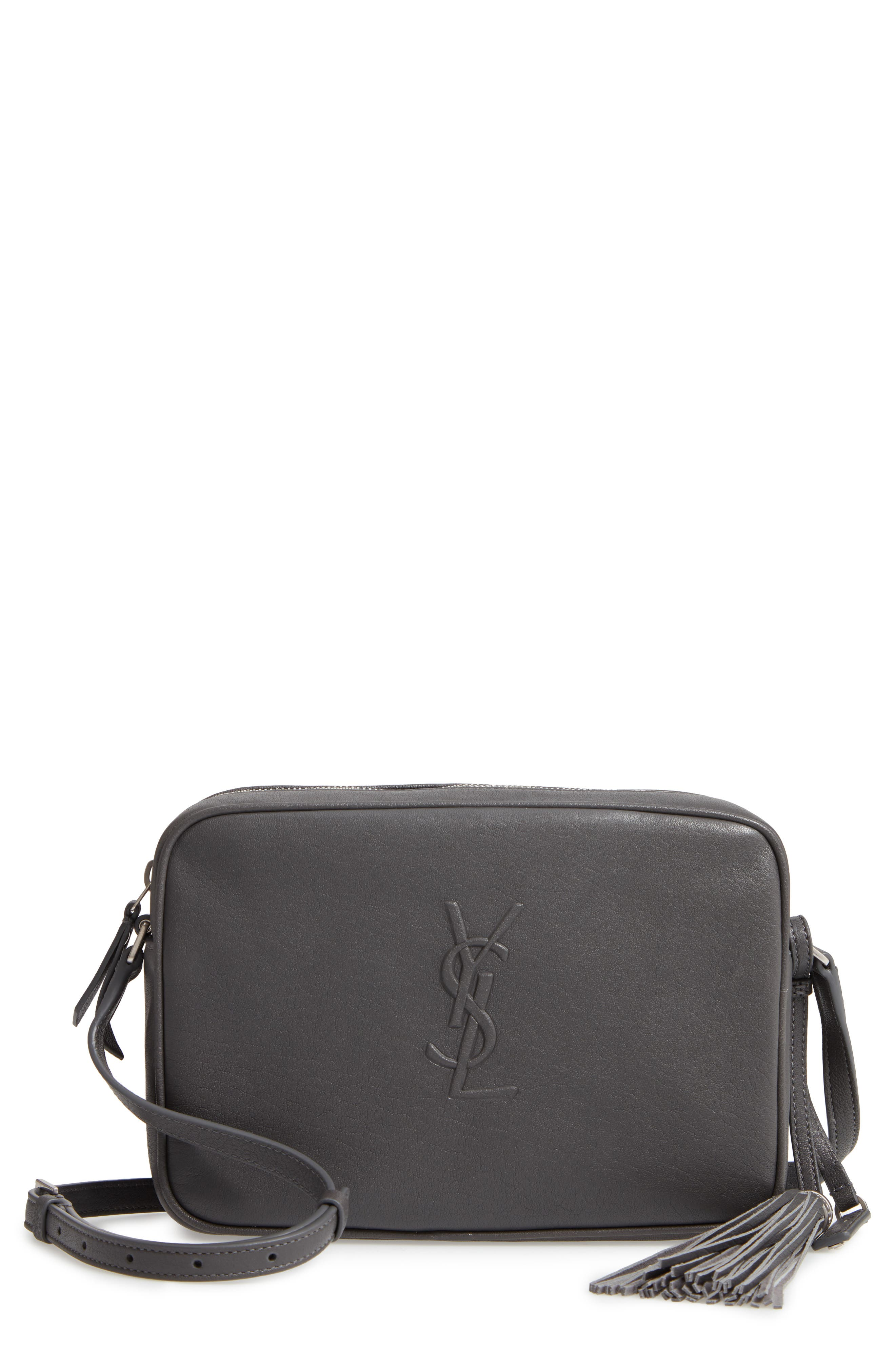 SAINT LAURENT Small Mono Leather Camera Bag, Main, color, STORM