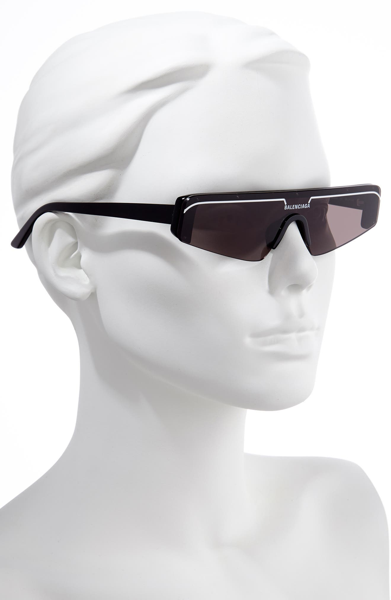 BALENCIAGA, 99mm Shield Sunglasses, Alternate thumbnail 2, color, SHINY BLACK/ GREY