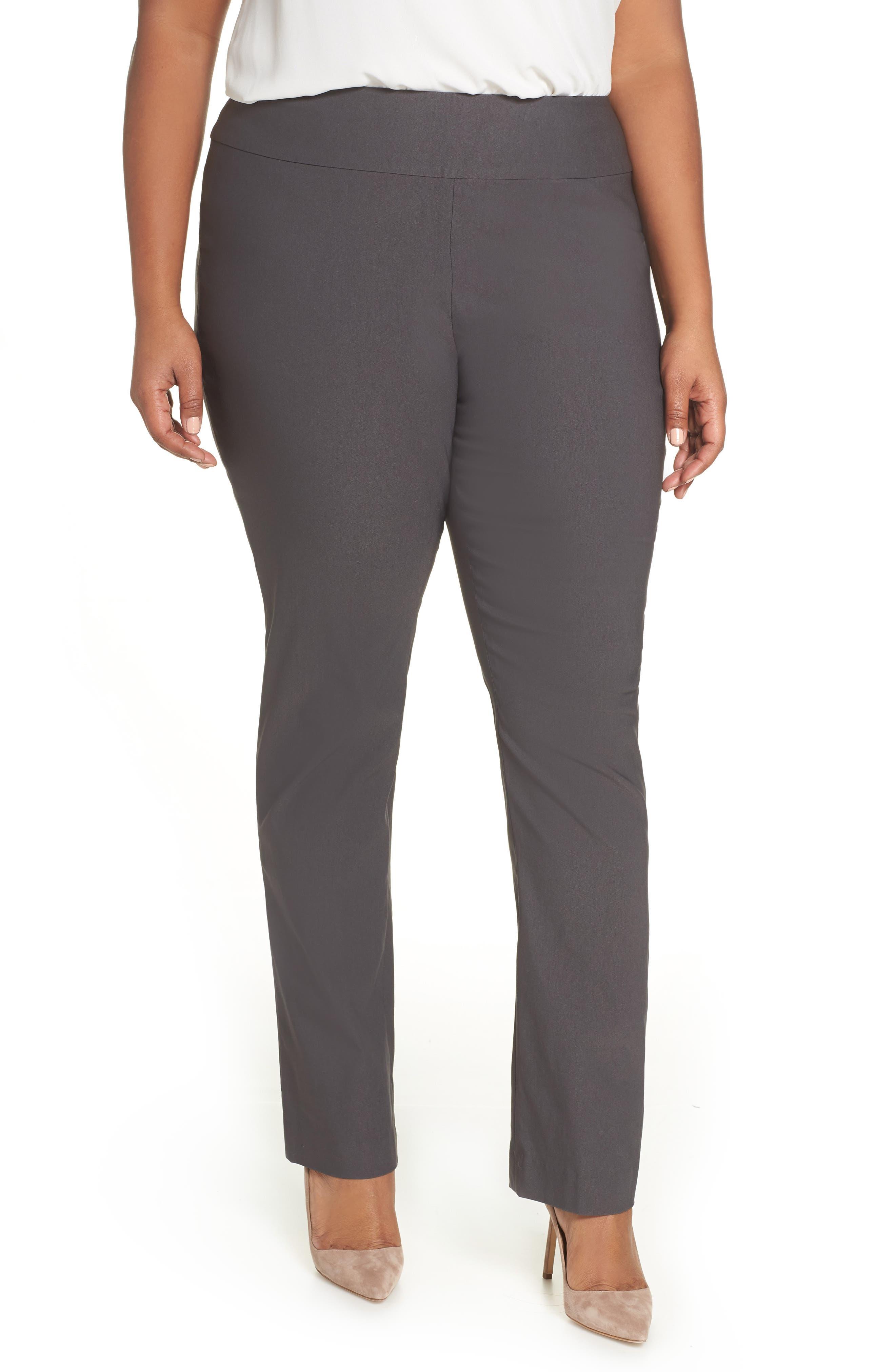 NIC+ZOE, Wonderstretch High Rise Slim Leg Pants, Main thumbnail 1, color, GRAPHITE