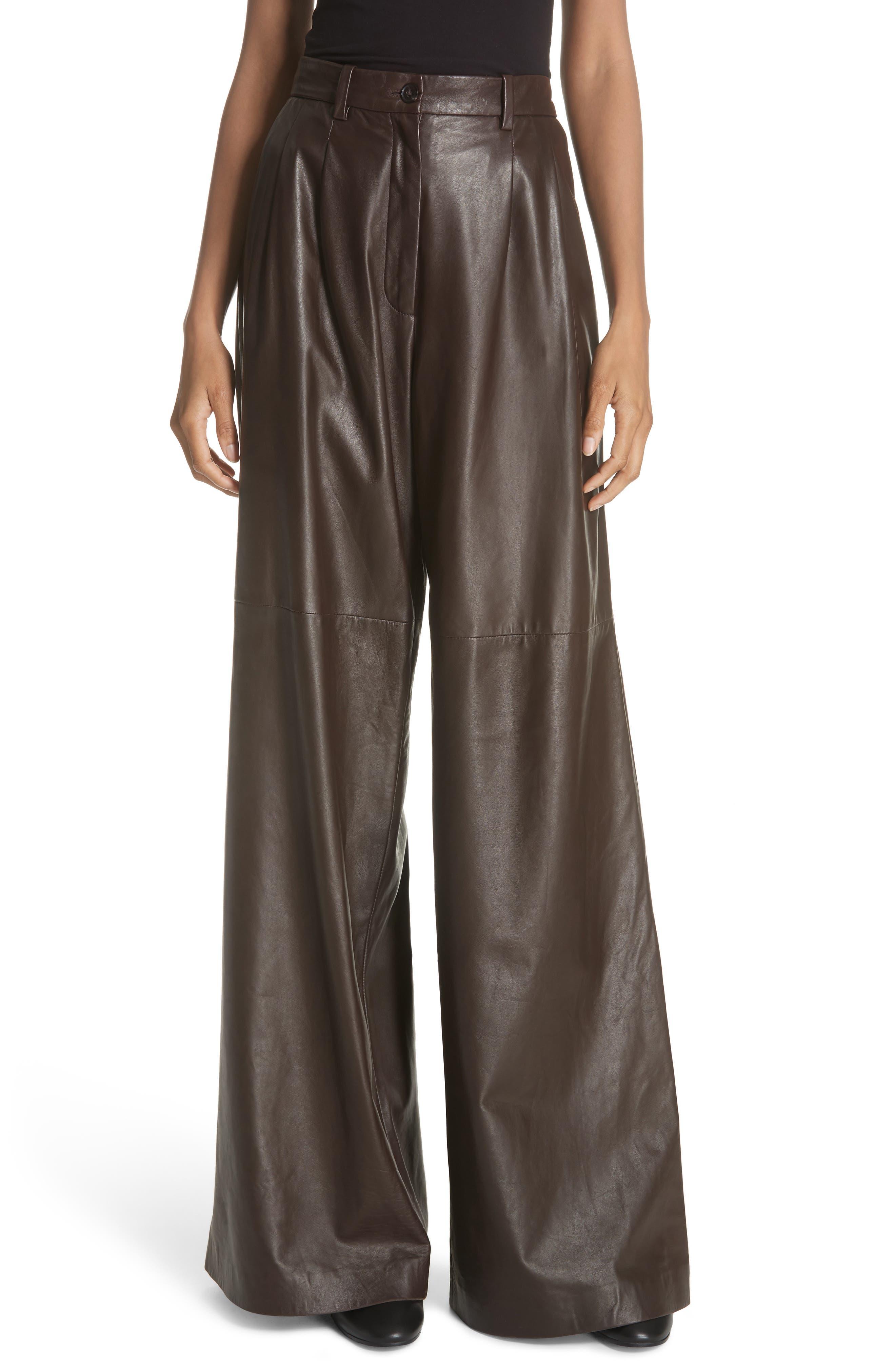 NILI LOTAN Nico Leather Pants, Main, color, BROWN