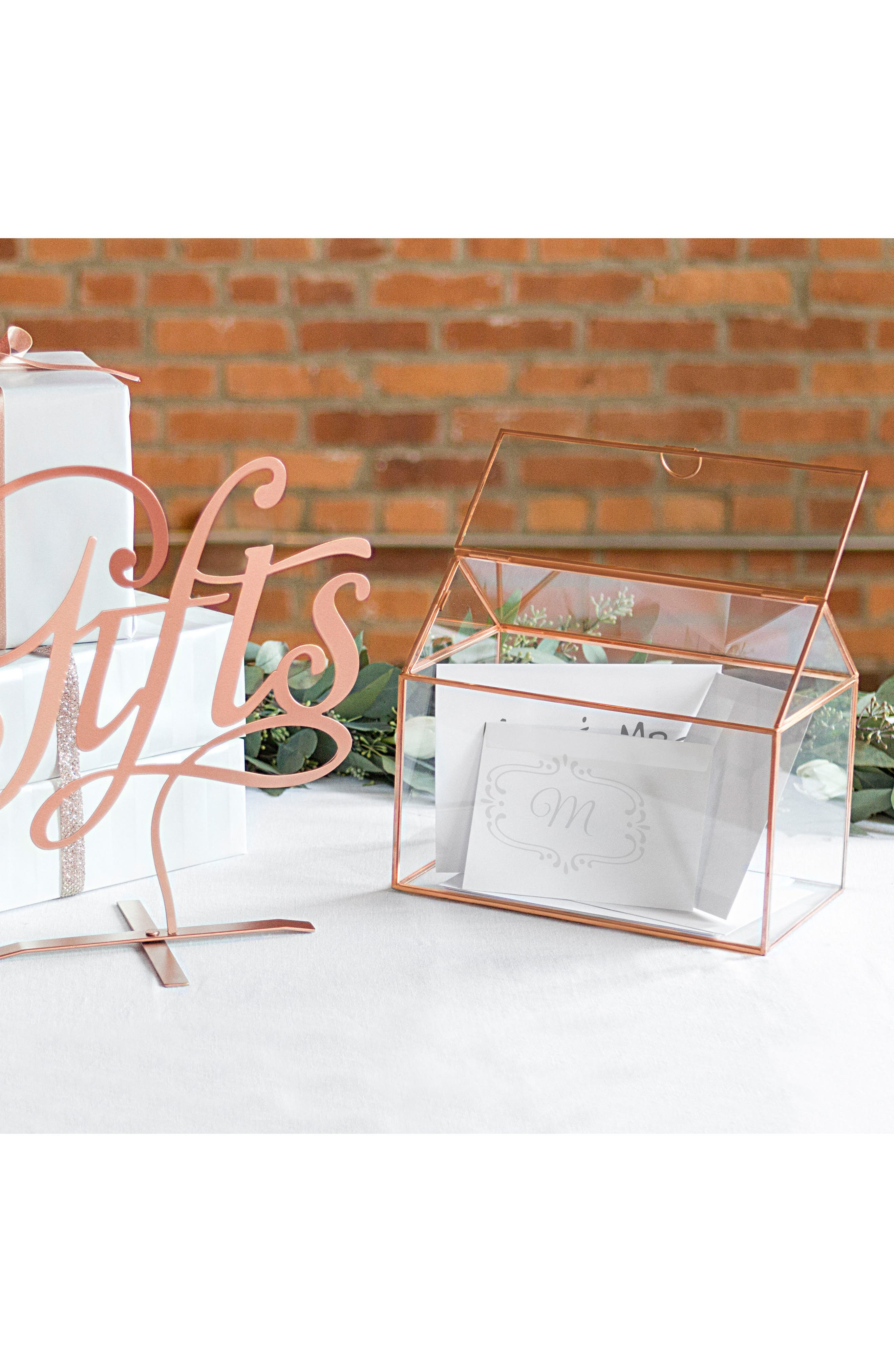 CATHY'S CONCEPTS, Monogram Rose Gold Reception Card Holder, Alternate thumbnail 9, color, ROSE GOLD
