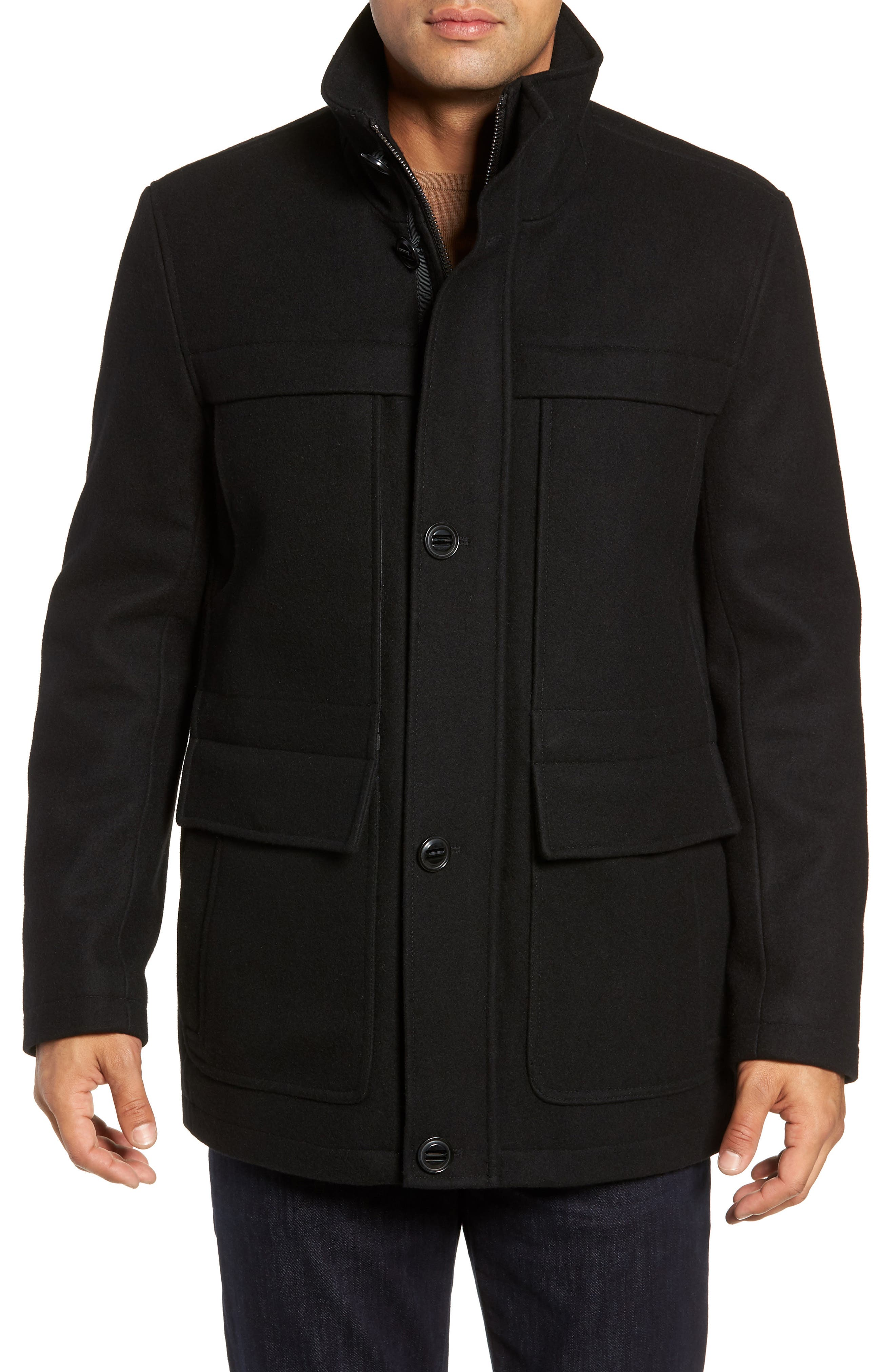 MARC NEW YORK, Brantley Wool Blend Car Coat, Alternate thumbnail 5, color, 001