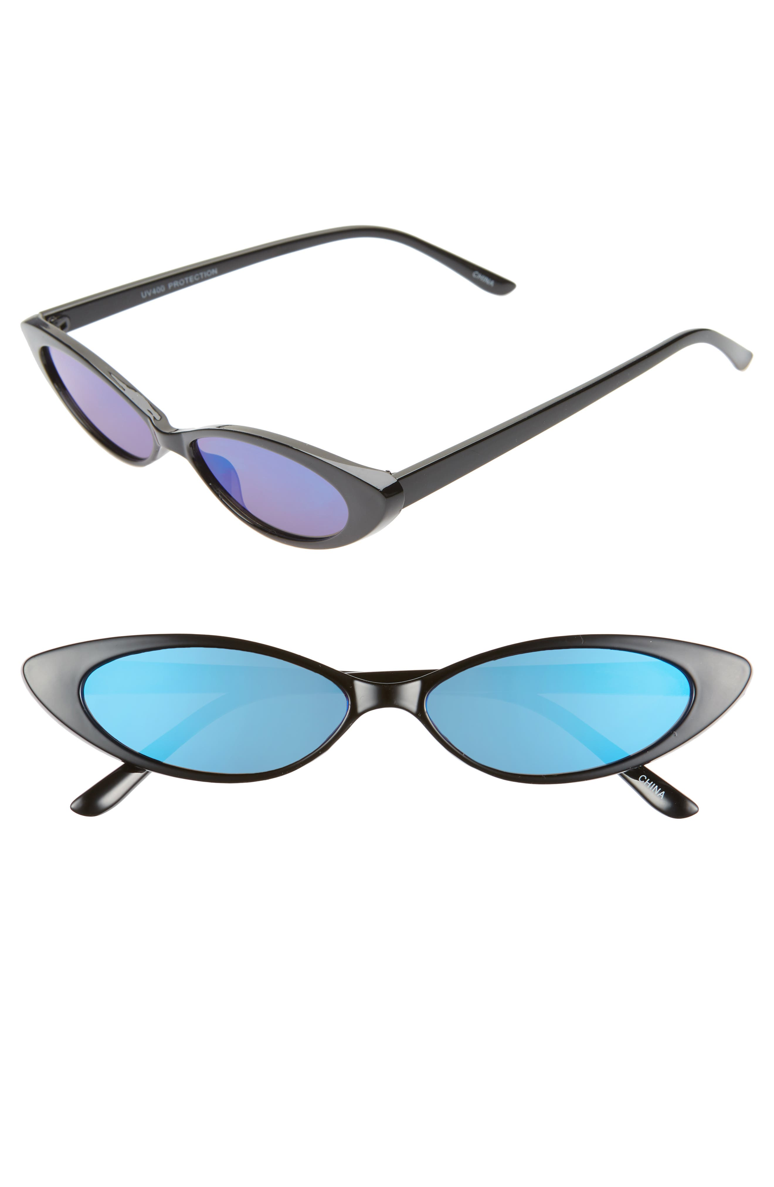 RAD + REFINED, Oval Sunglasses, Main thumbnail 1, color, BLACK/ BLUE