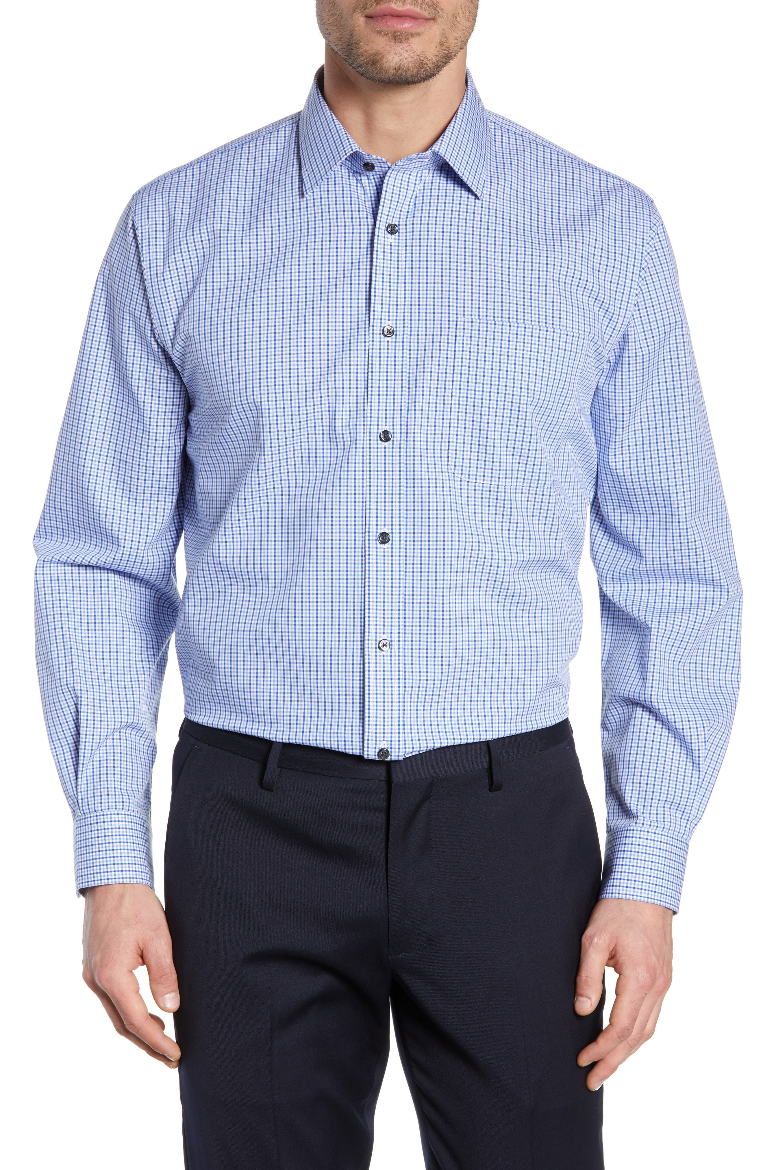 NORDSTROM MEN'S SHOP, Traditional Fit Non-Iron Check Dress Shirt, Main thumbnail 1, color, BLUE MARINE