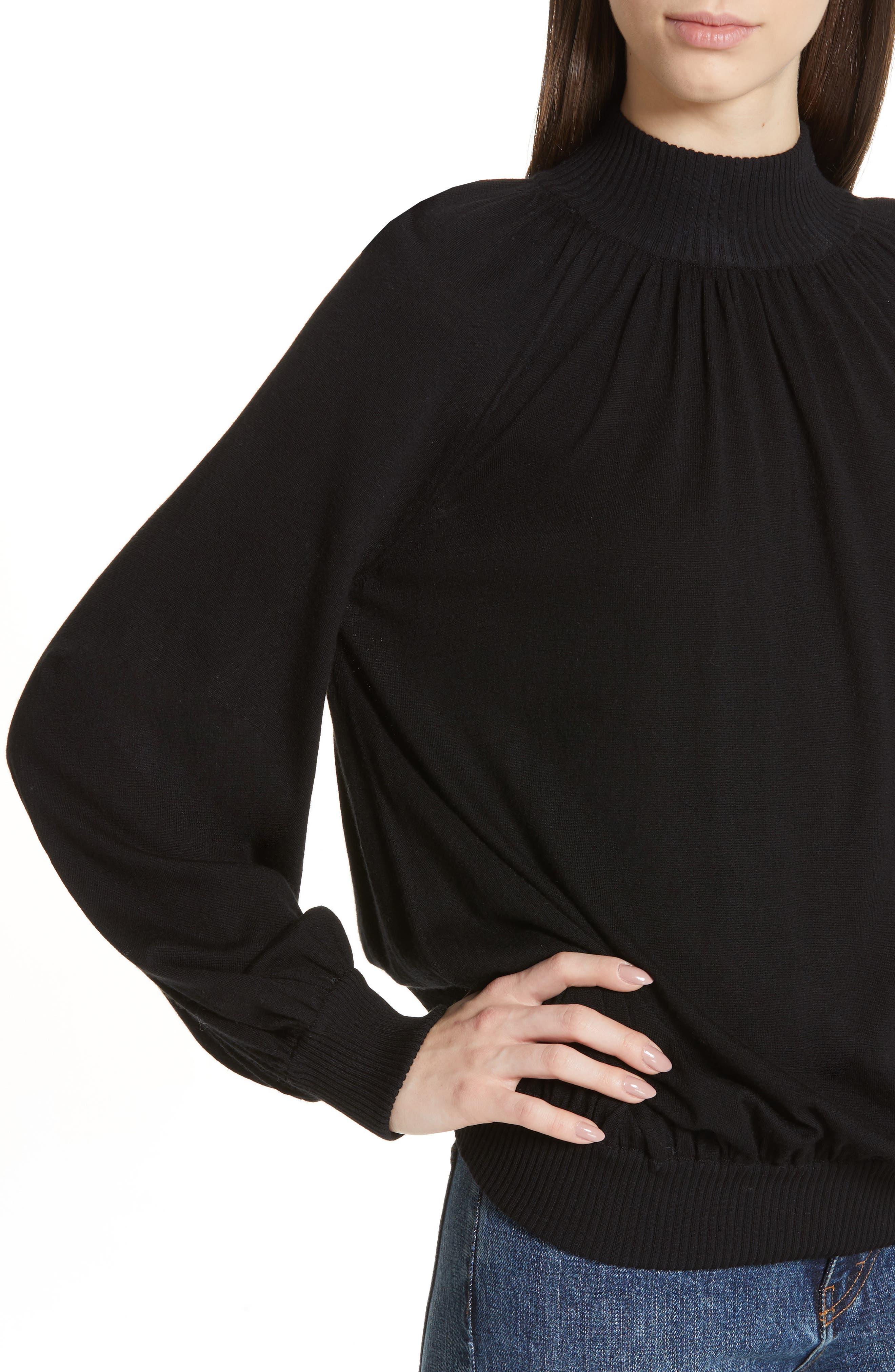 CO, Cashmere High Neck Blouson Sweater, Alternate thumbnail 4, color, BLACK