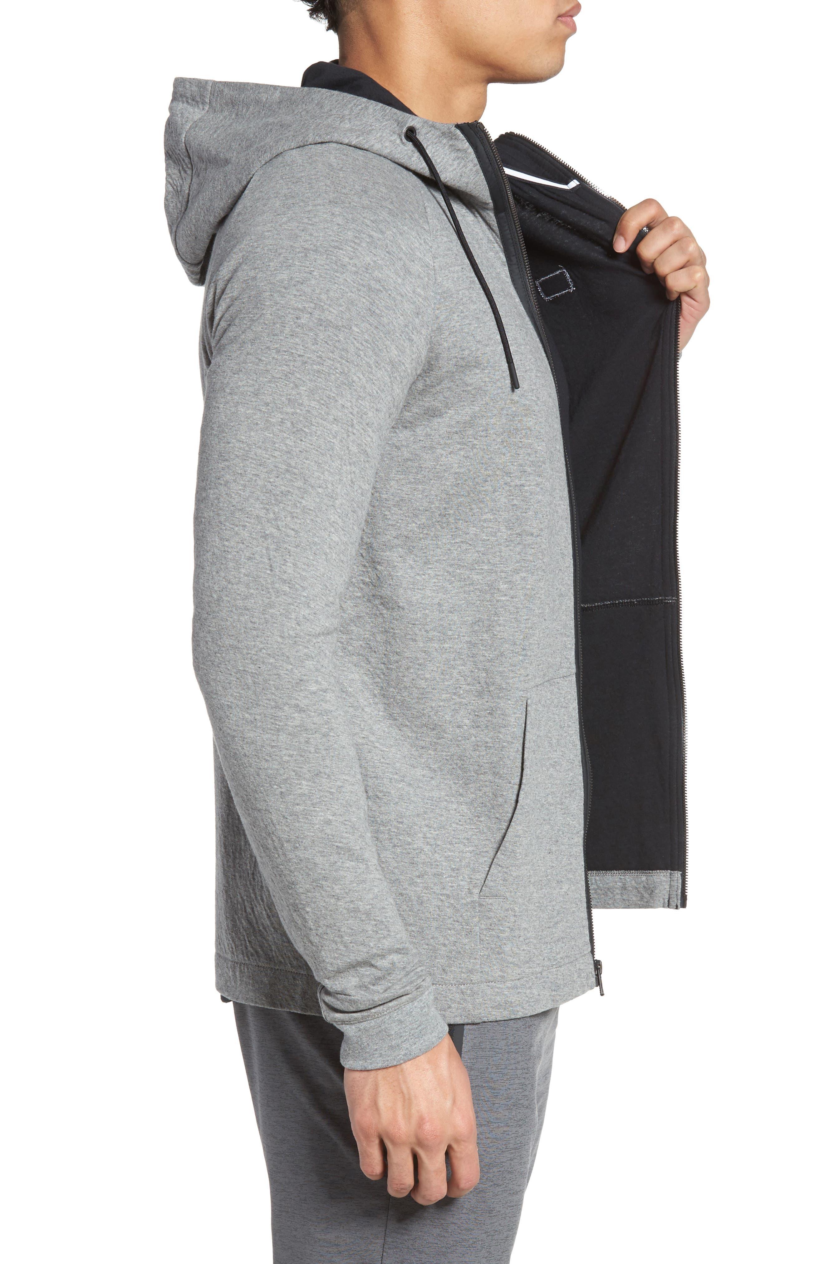 NIKE, Tech Regular Fit Fleece Hoodie, Alternate thumbnail 4, color, CARBON HEATHER/BLACK