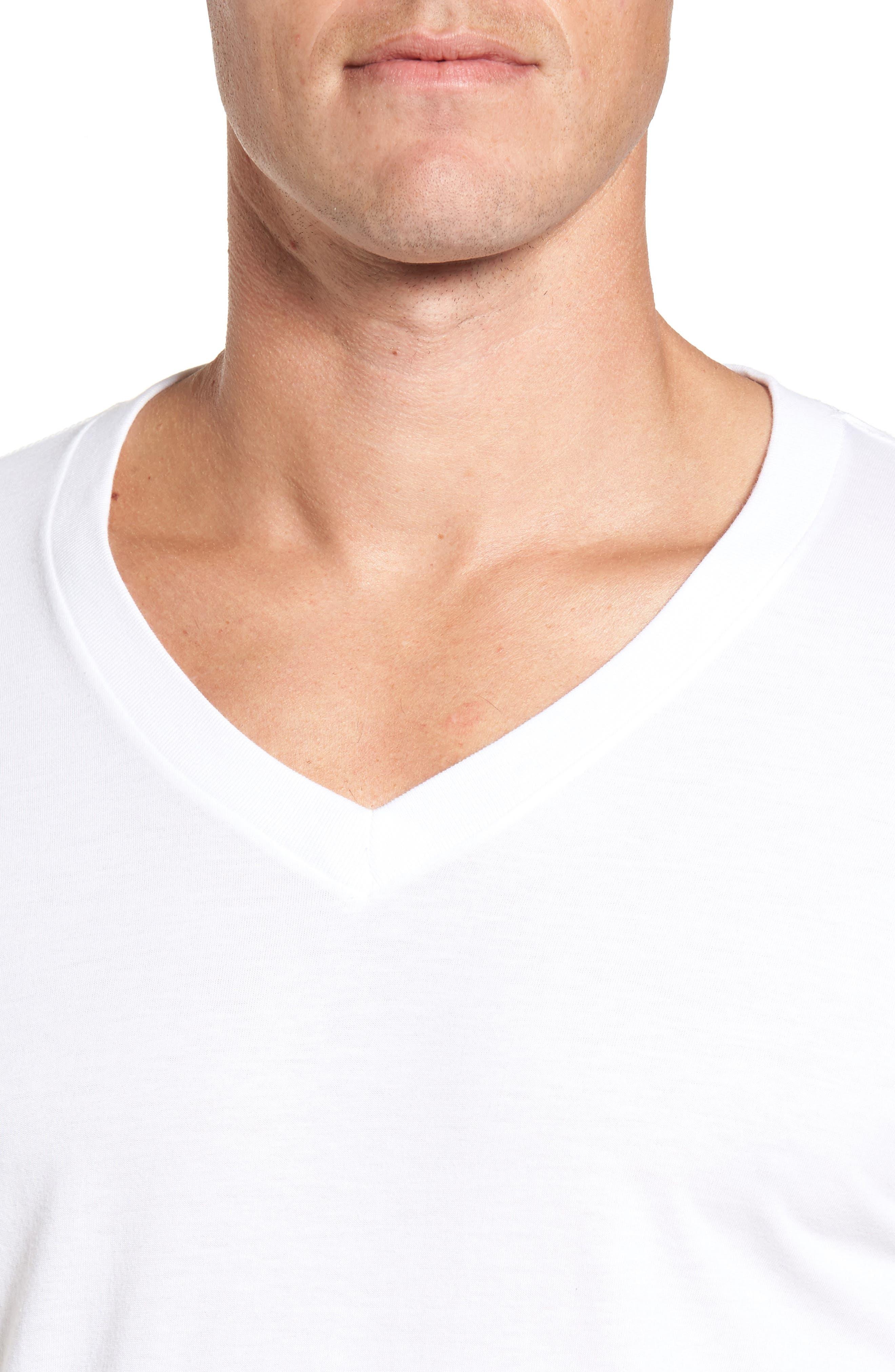 NORDSTROM MEN'S SHOP, 4-Pack Regular Fit Supima<sup>®</sup> Cotton V-Neck T-Shirts, Alternate thumbnail 4, color, WHITE