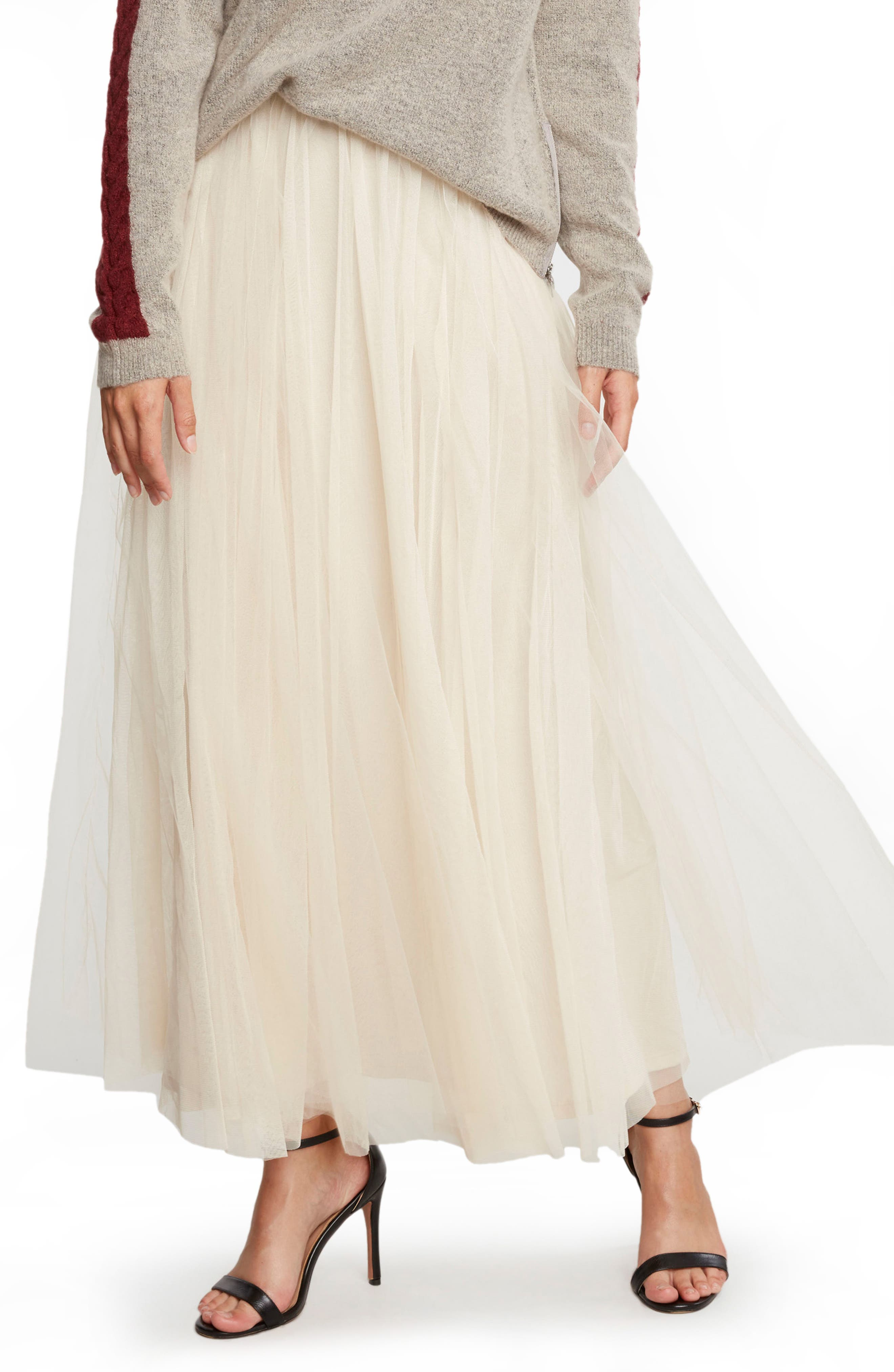WILLOW & CLAY Tulle Midi Skirt, Main, color, 901