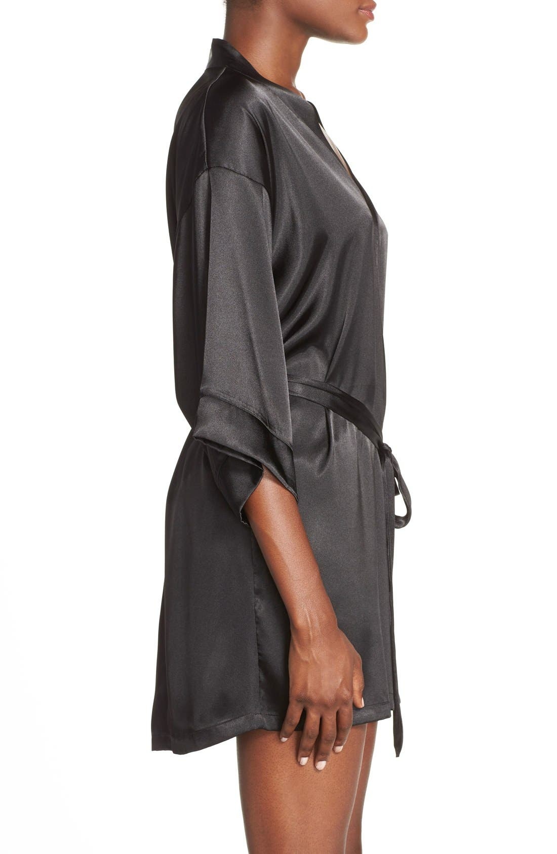 IN BLOOM BY JONQUIL, Satin Robe, Alternate thumbnail 4, color, BLACK