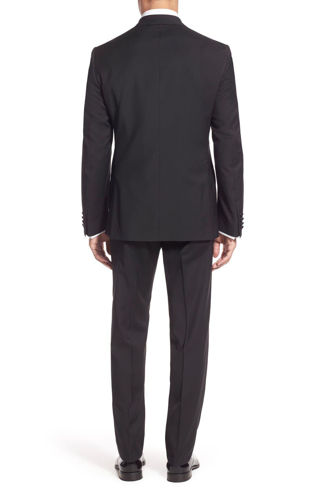 NORDSTROM MEN'S SHOP, Trim Fit Wool Tuxedo, Alternate thumbnail 4, color, BLACK