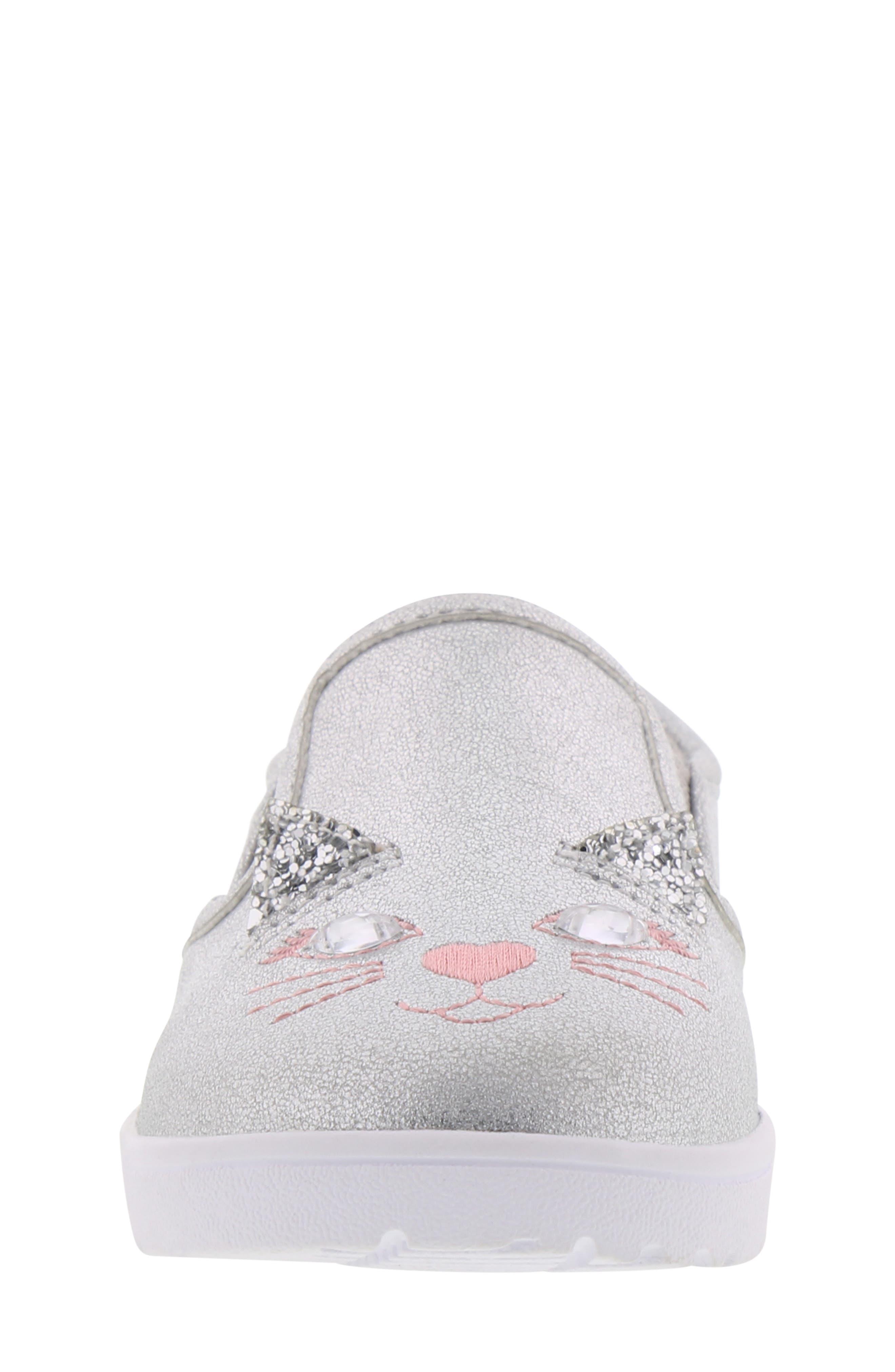 BØRN, Bailey Jaslyna Slip-On Glitter Sneaker, Alternate thumbnail 4, color, SILVER