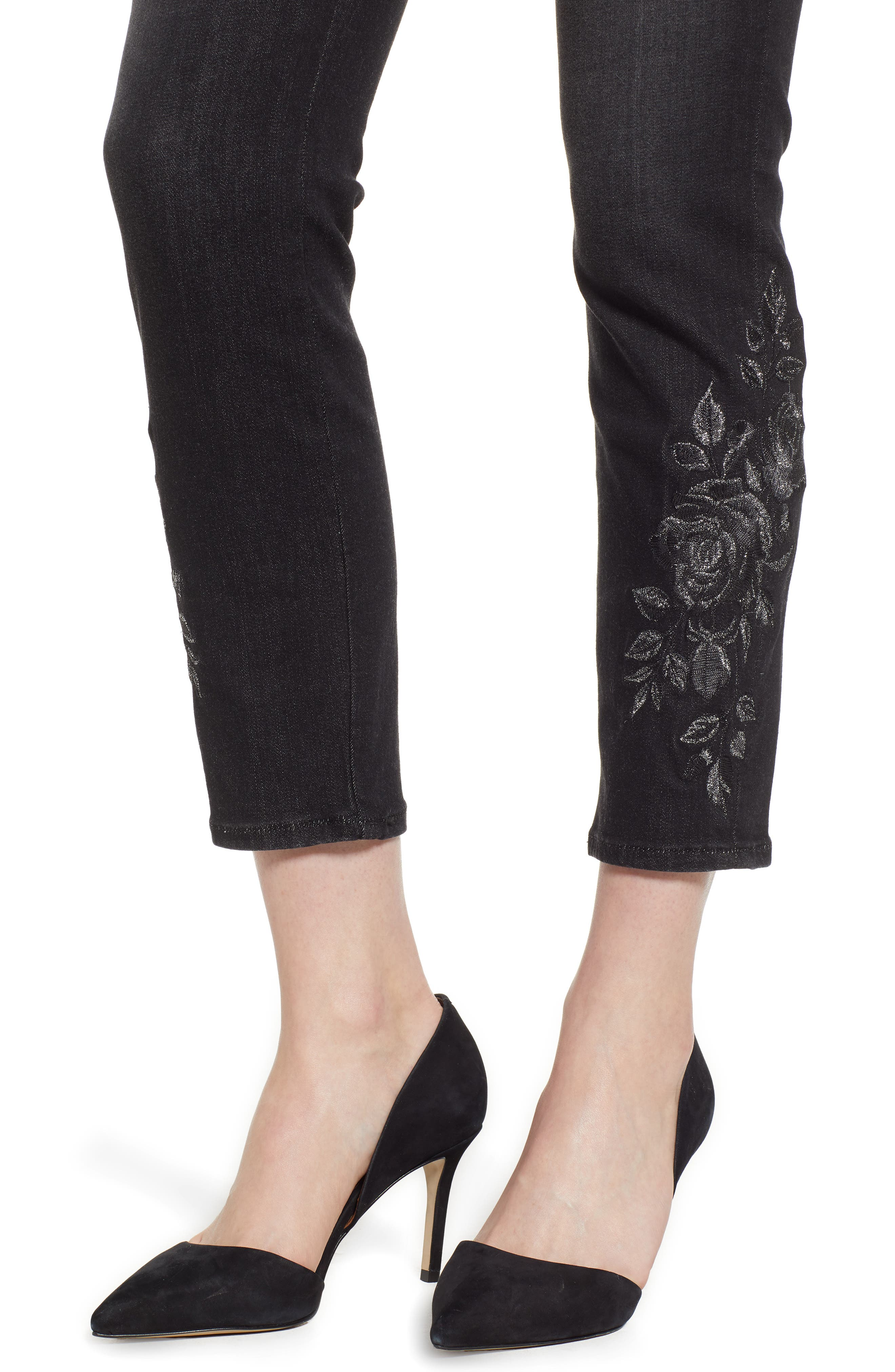 JEN7 BY 7 FOR ALL MANKIND, Embroidered Ankle Skinny Jeans, Alternate thumbnail 5, color, RICHE TOUCH AGED BLACK