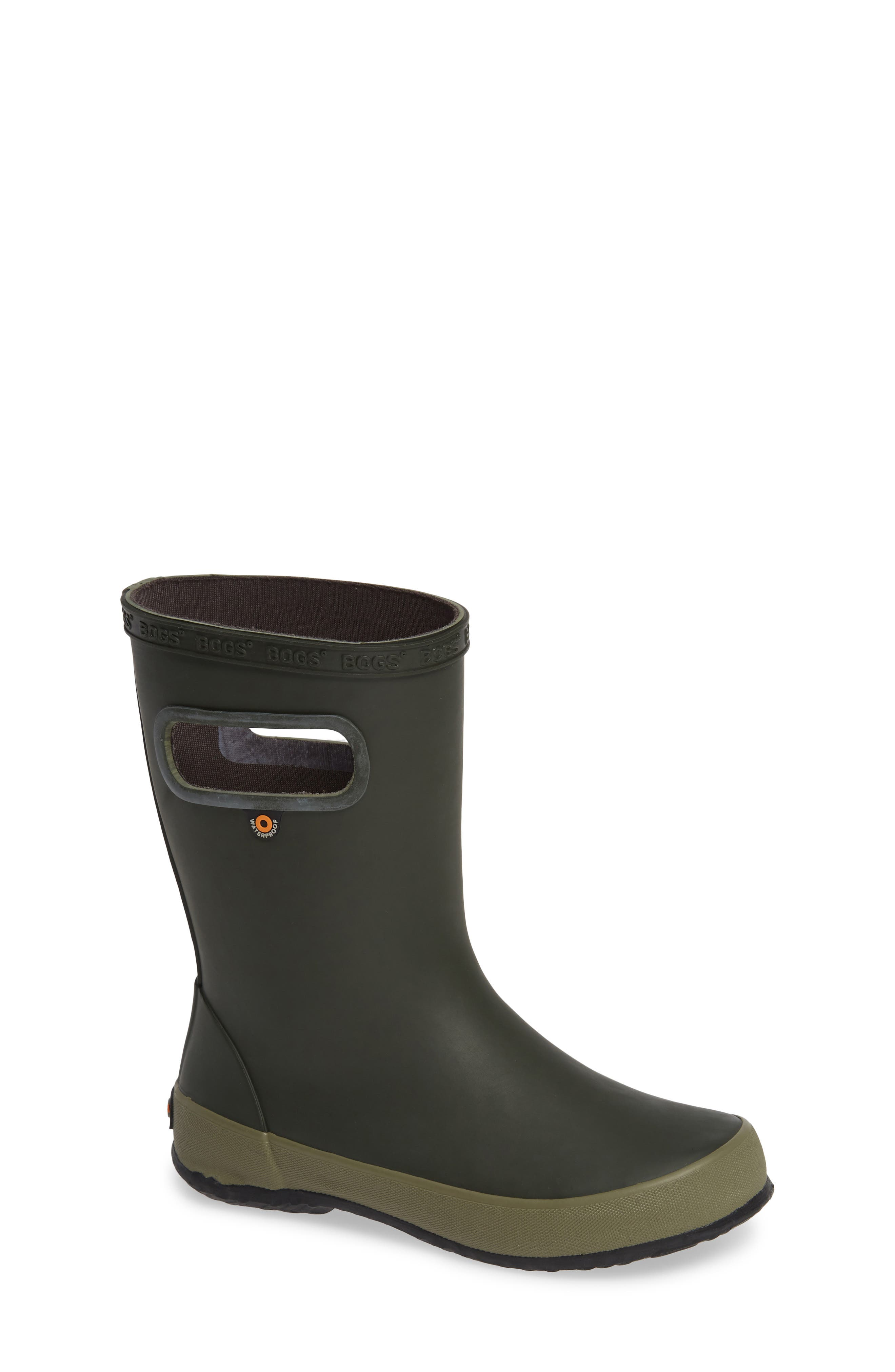BOGS Skipper Solid Rubber Rain Boot, Main, color, DARK GREEN