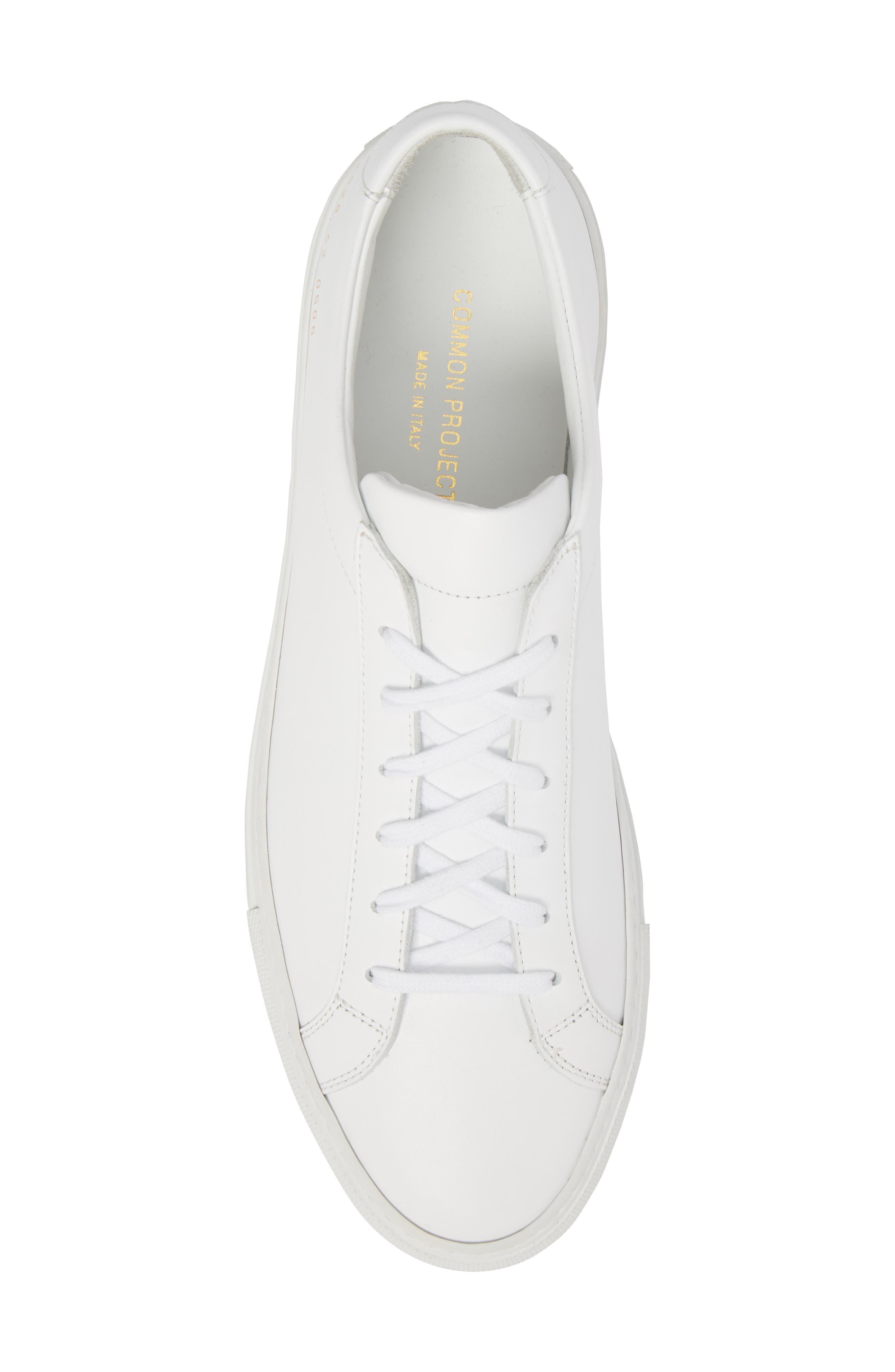 COMMON PROJECTS, Original Achilles Sneaker, Alternate thumbnail 5, color, WHITE