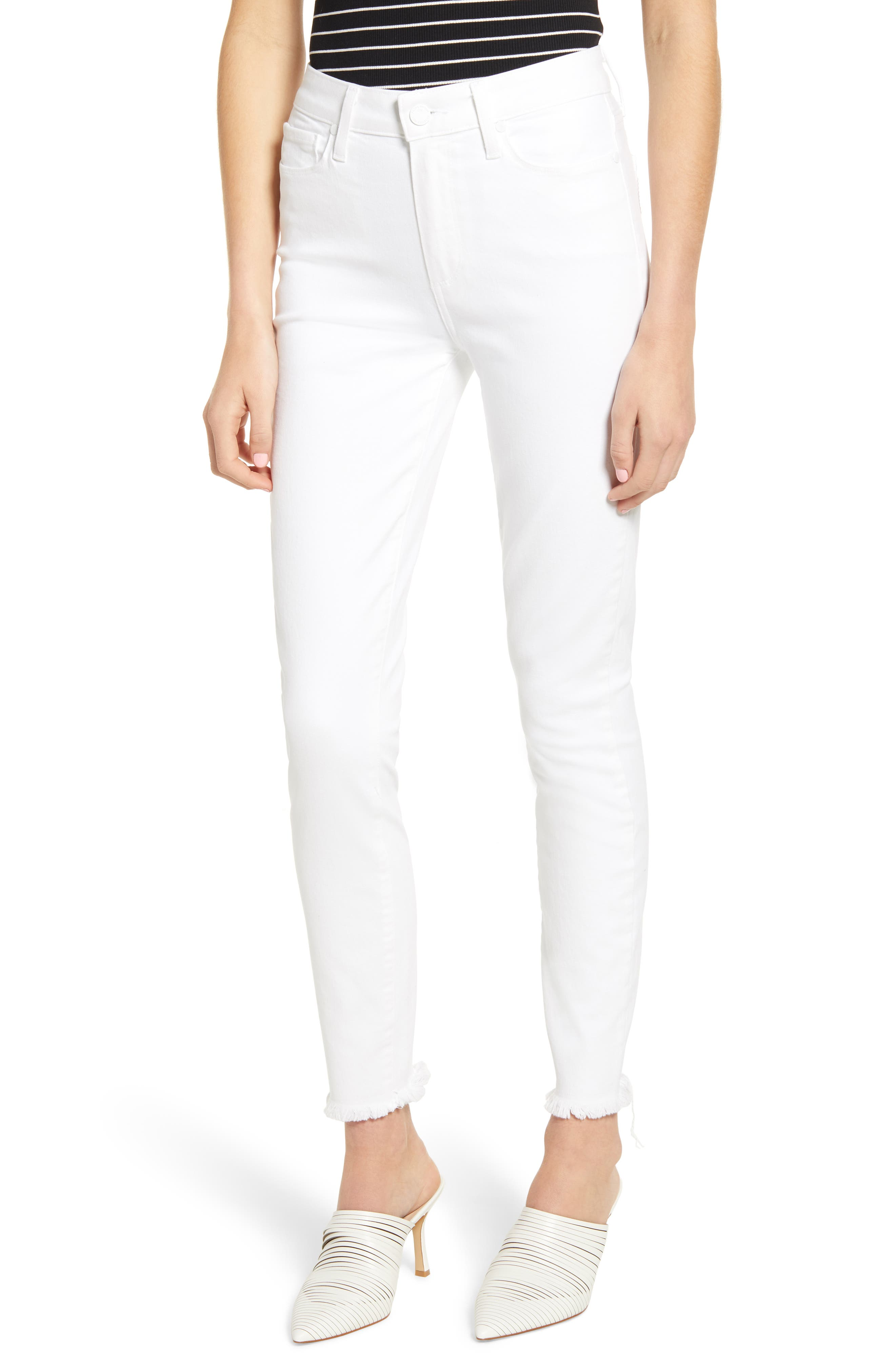 PAIGE Hoxton High Waist Ankle Skinny Jeans, Main, color, CRISP WHITE