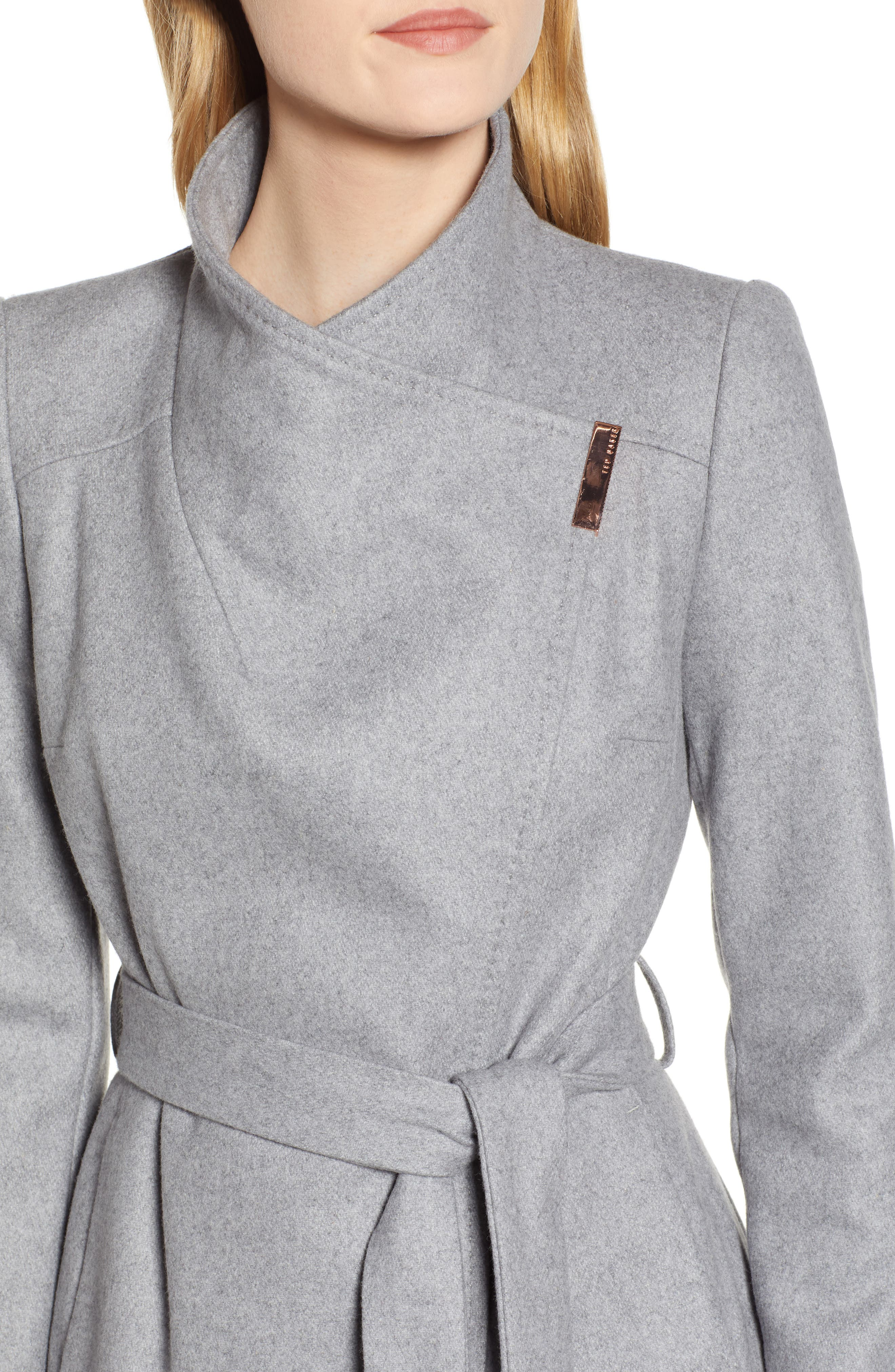 TED BAKER LONDON, Wool Blend Long Wrap Coat, Alternate thumbnail 5, color, 030