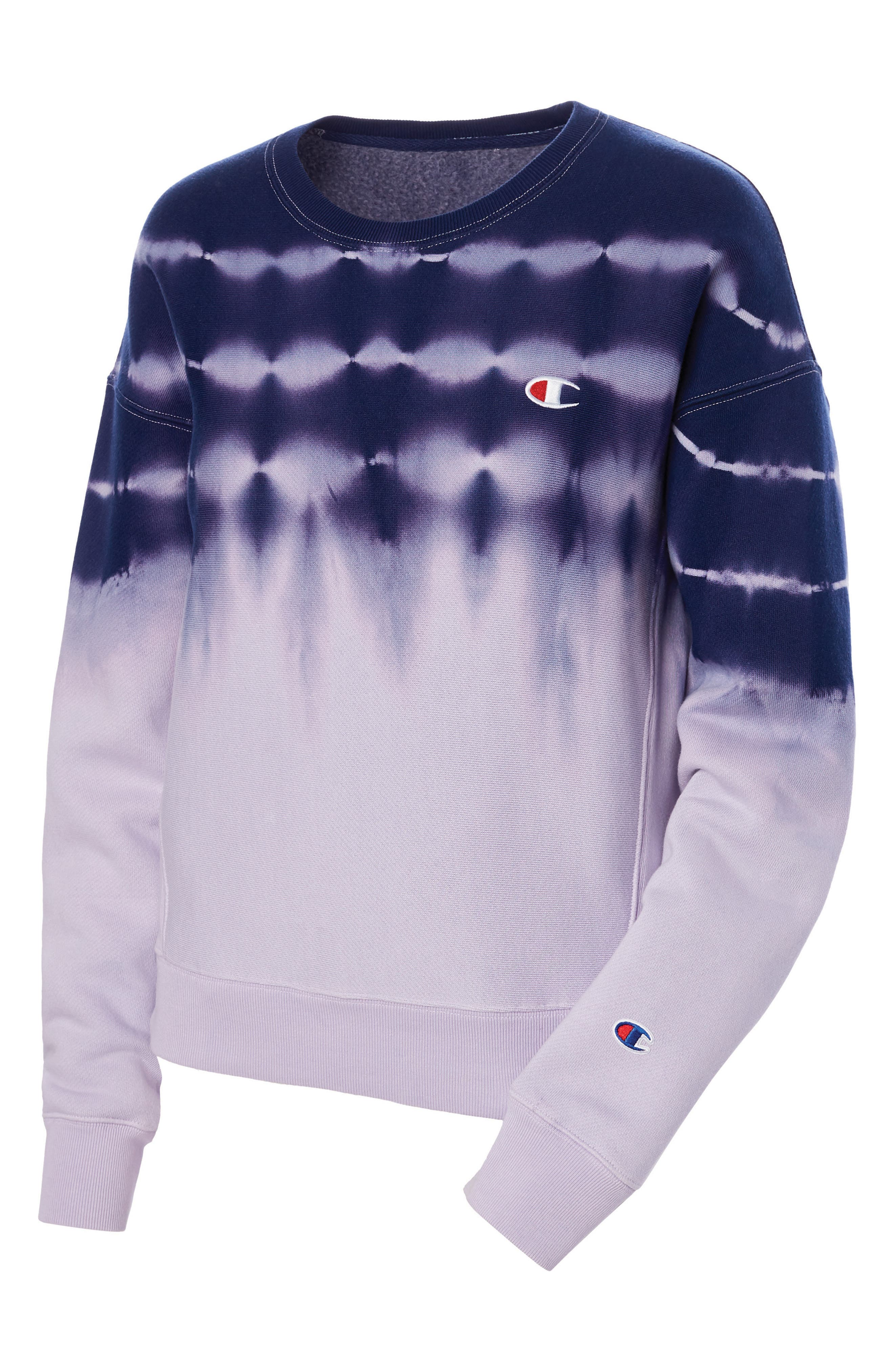 CHAMPION, Streak Dye Sweatshirt, Alternate thumbnail 3, color, PALE VIOLET ROSE